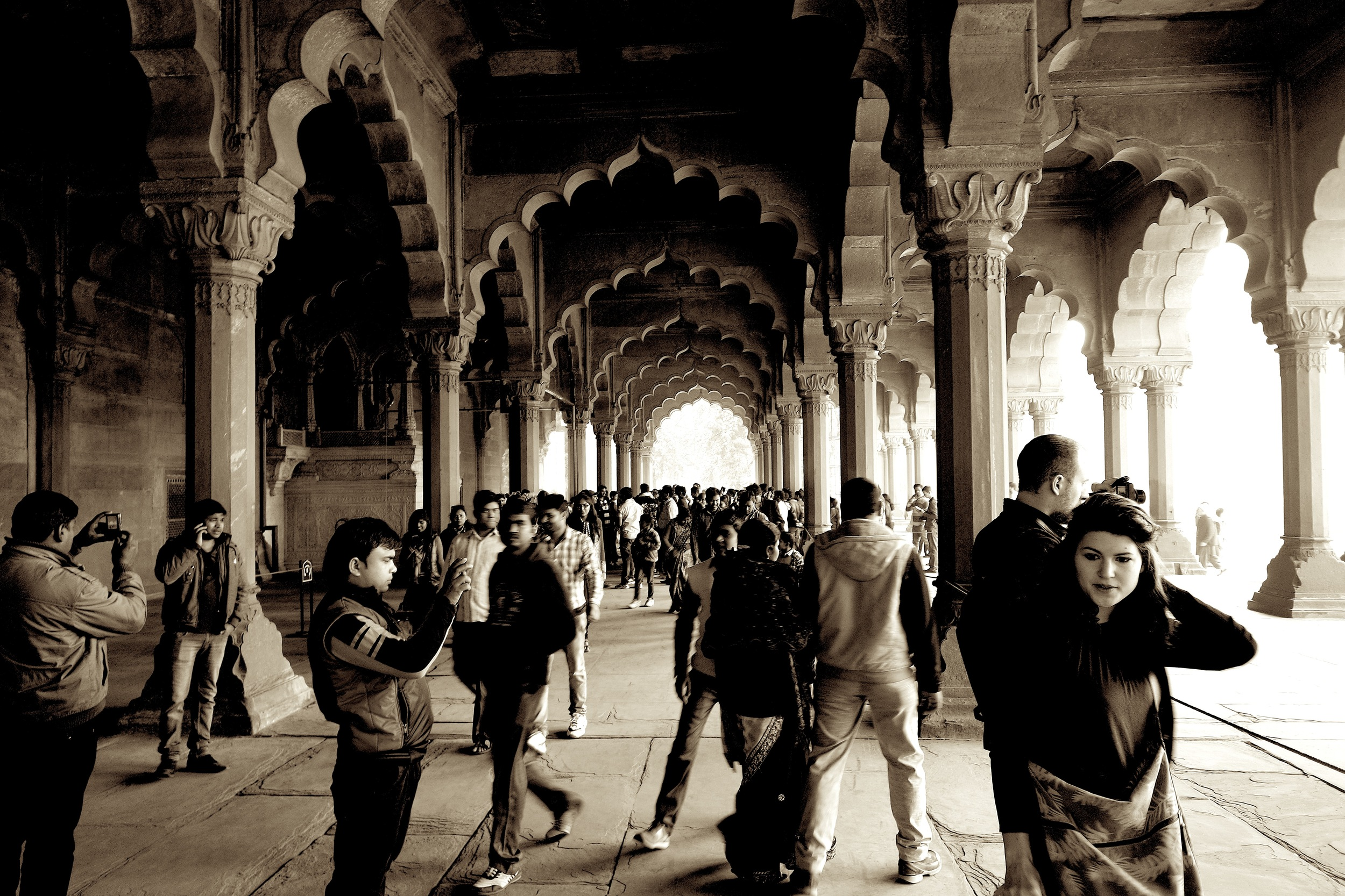 A crowded arcade at Delhi's Red Fort