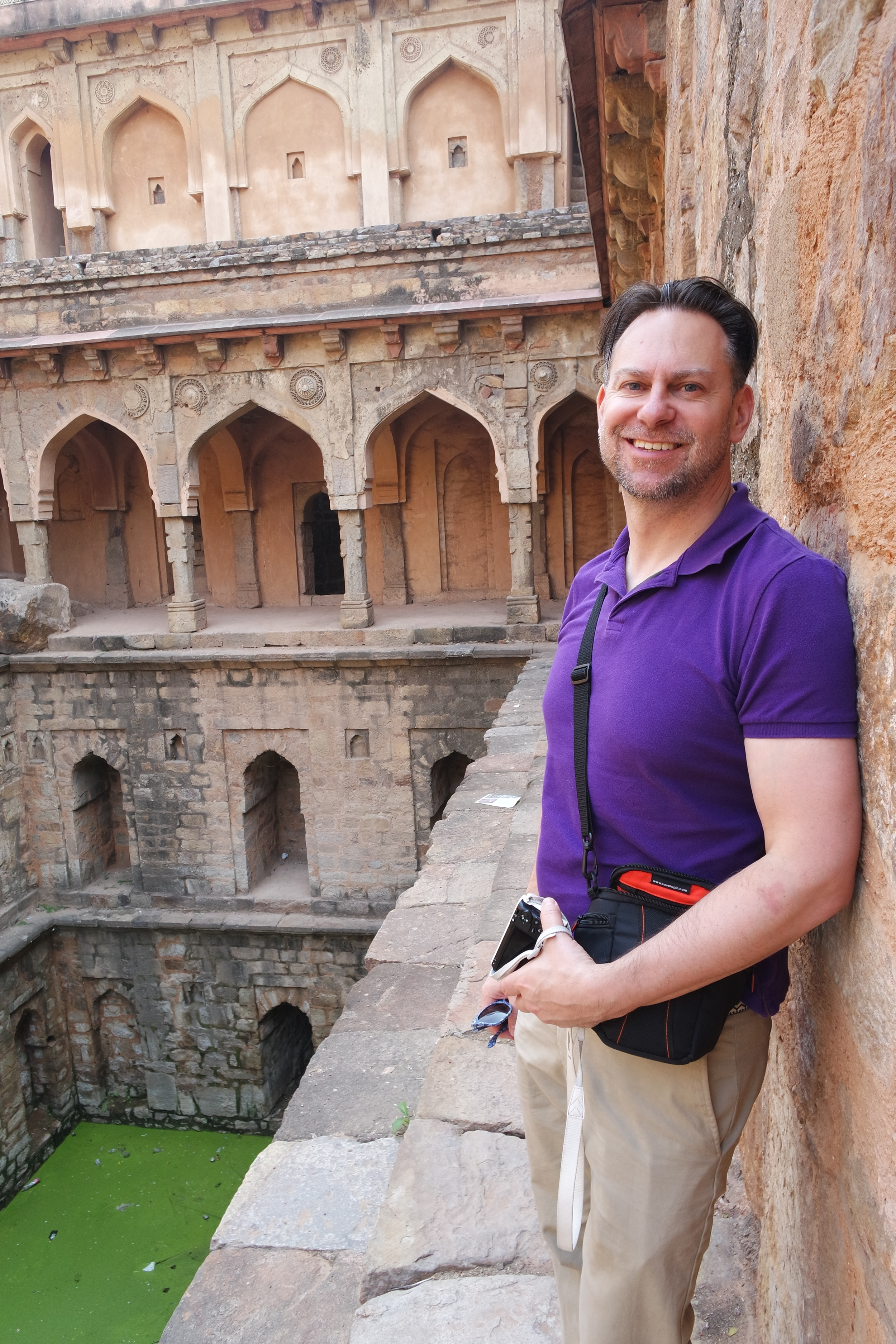 Duke at the Rajon Ki Baoli stepwell in Mehrauli Archeological Park