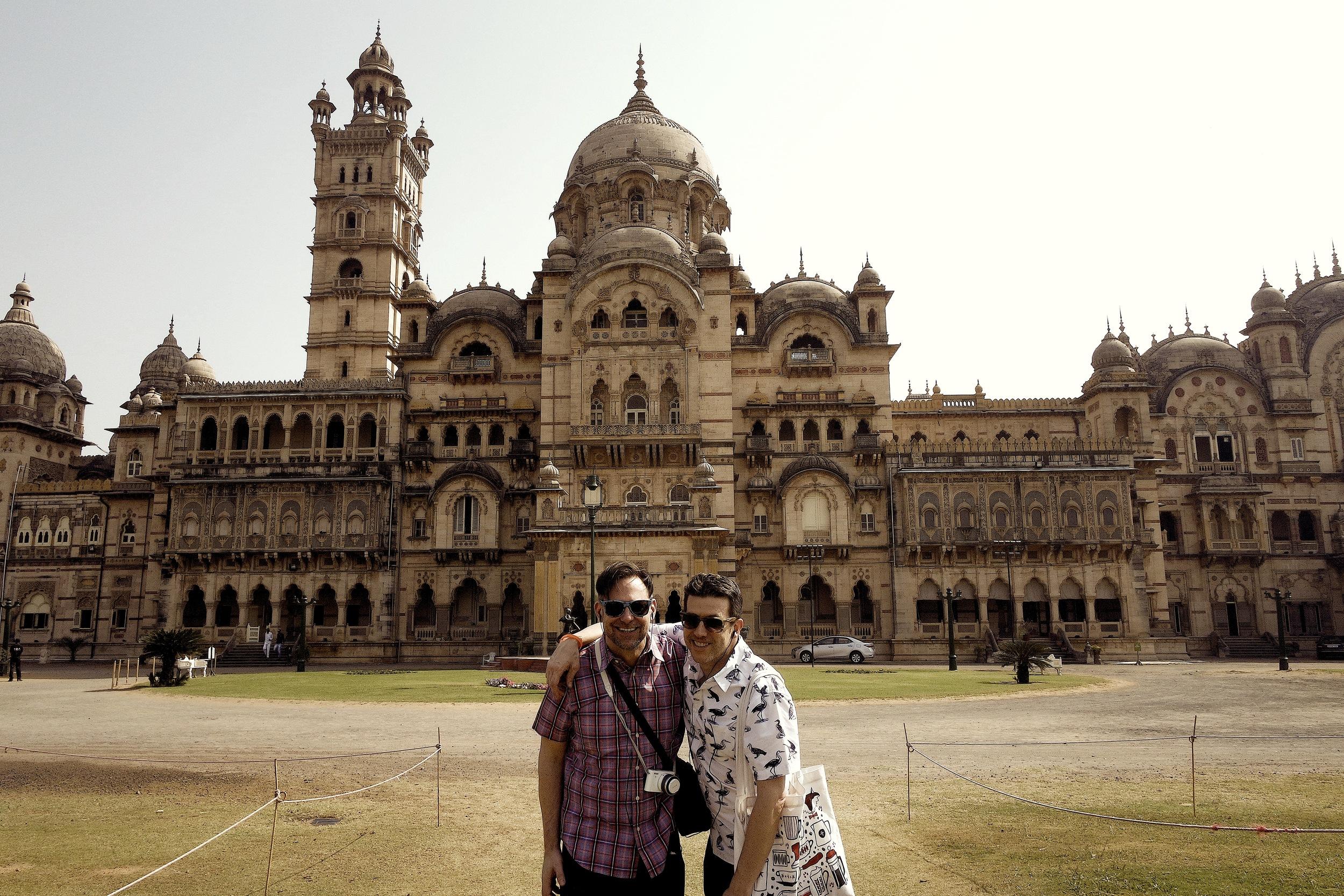 Duke and Wally in front of Laxmi Vilas Palace, a highlight of Vadodara, India