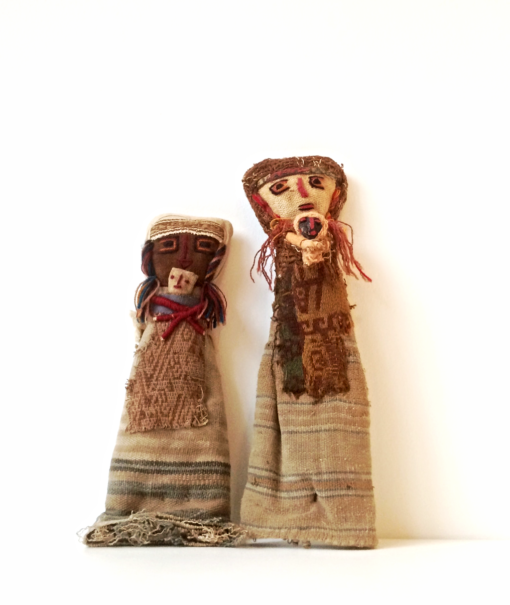 These Chancay burial dolls from Cusco, Peru, which Wally named Claudia and Lucha, have dollies of their own