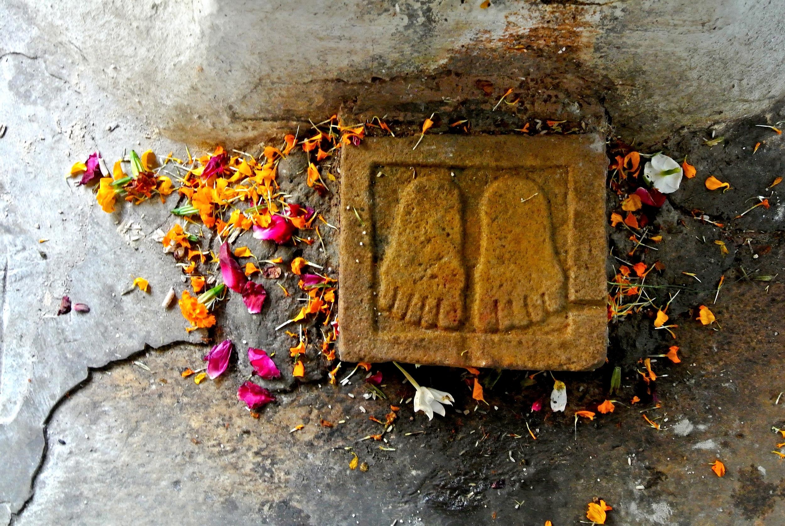 The Buddha's footprints at the Dhundiraj Ganpati Mandir Temple in Baroda, India