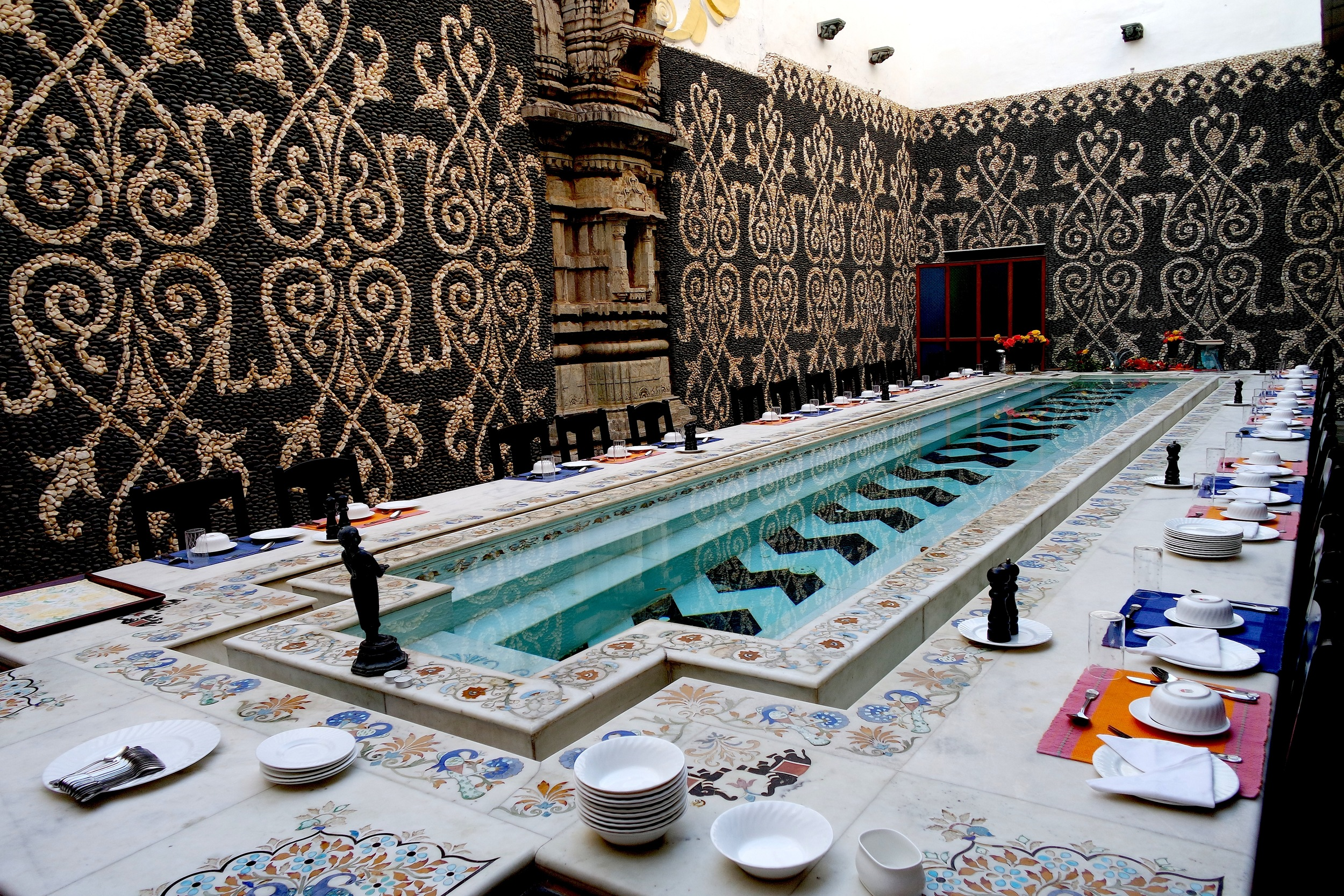 The epic open-air dining room at Hotel Udai Bilas Palace. A quick swim before supper, anyone?