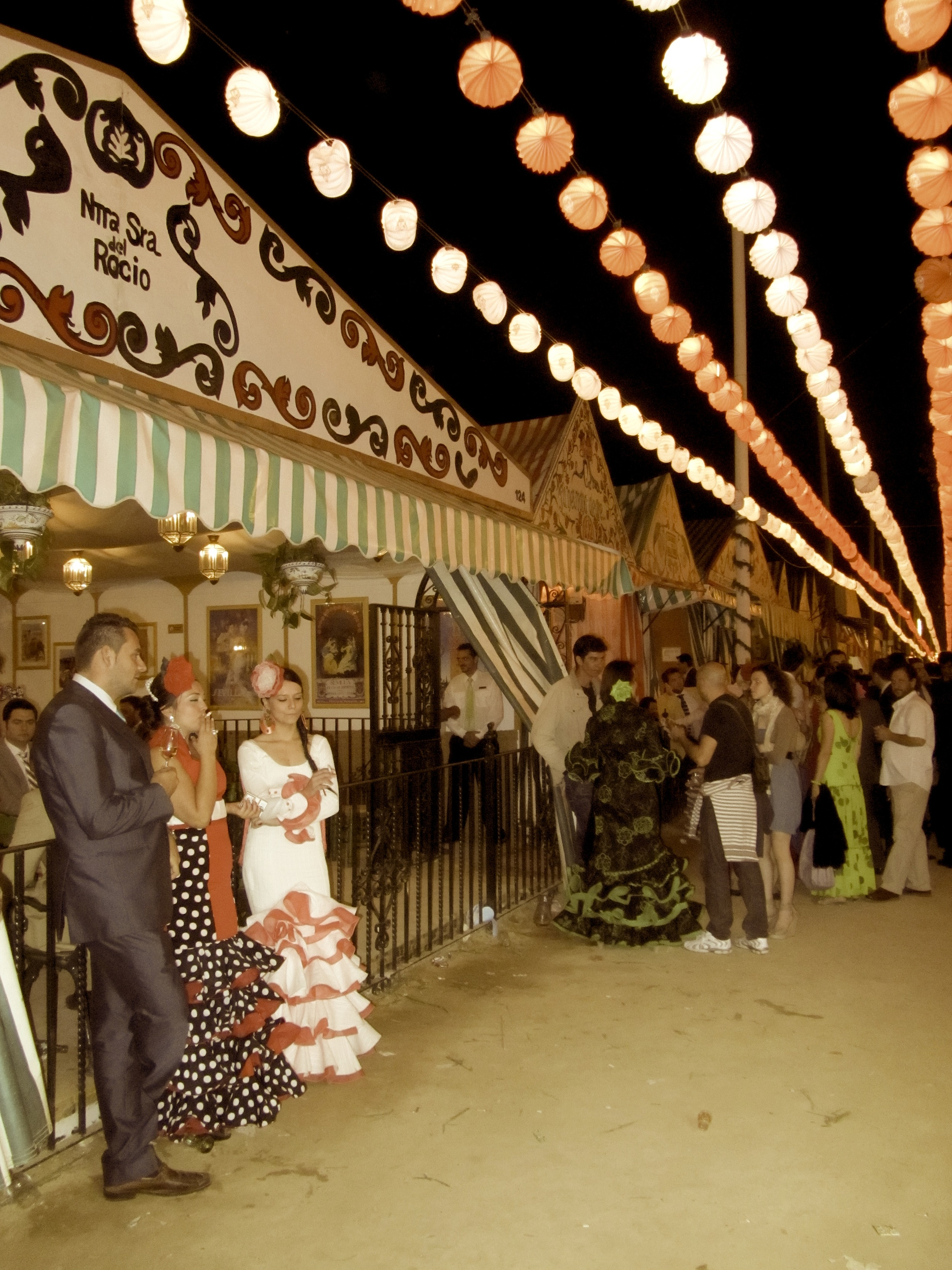 The Feria fairgrounds, with a line of casetas, where the real parties take place