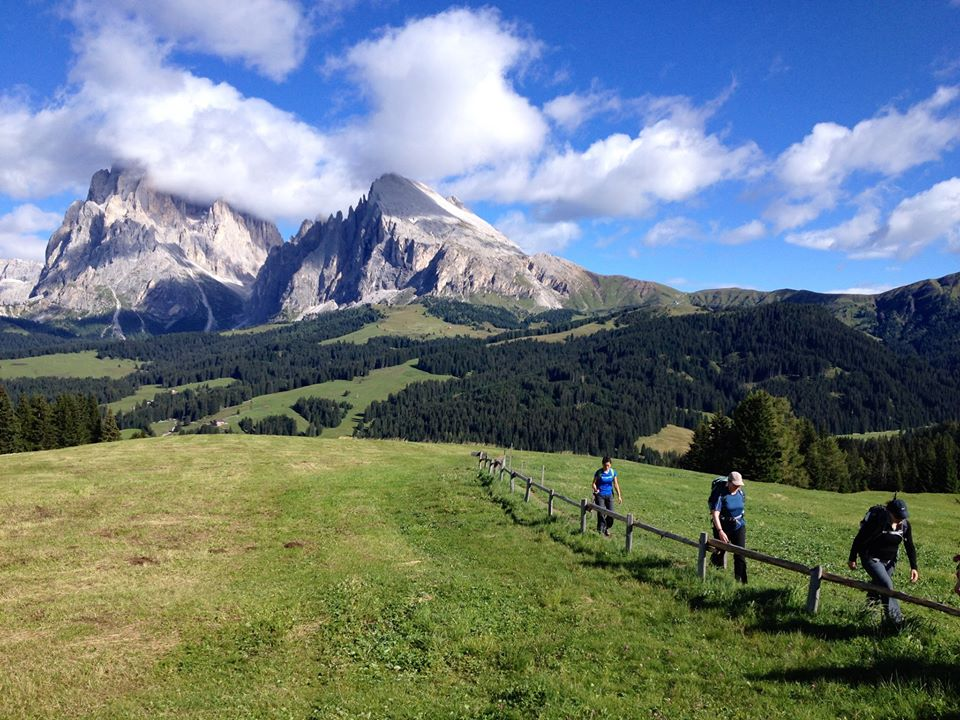 Hiking through the Dolomites mountain range, which straddle Italy and Austria