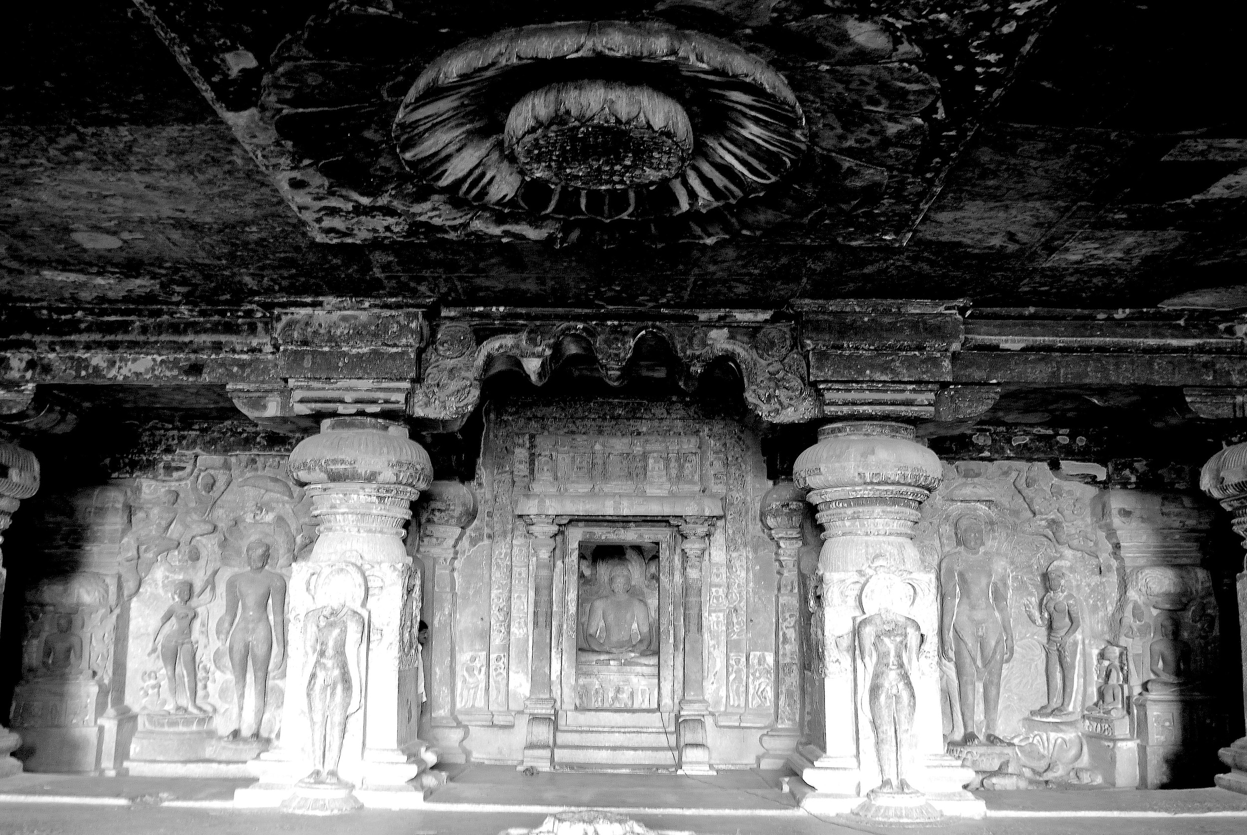 Cave 32, the most spectacular of the Jain complex at Ellora