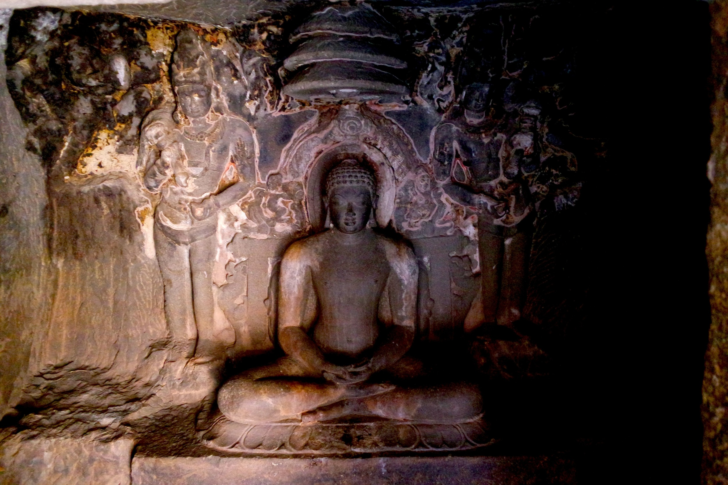 A jina, or enlightened being, at the back of Cave 32 at Ellora