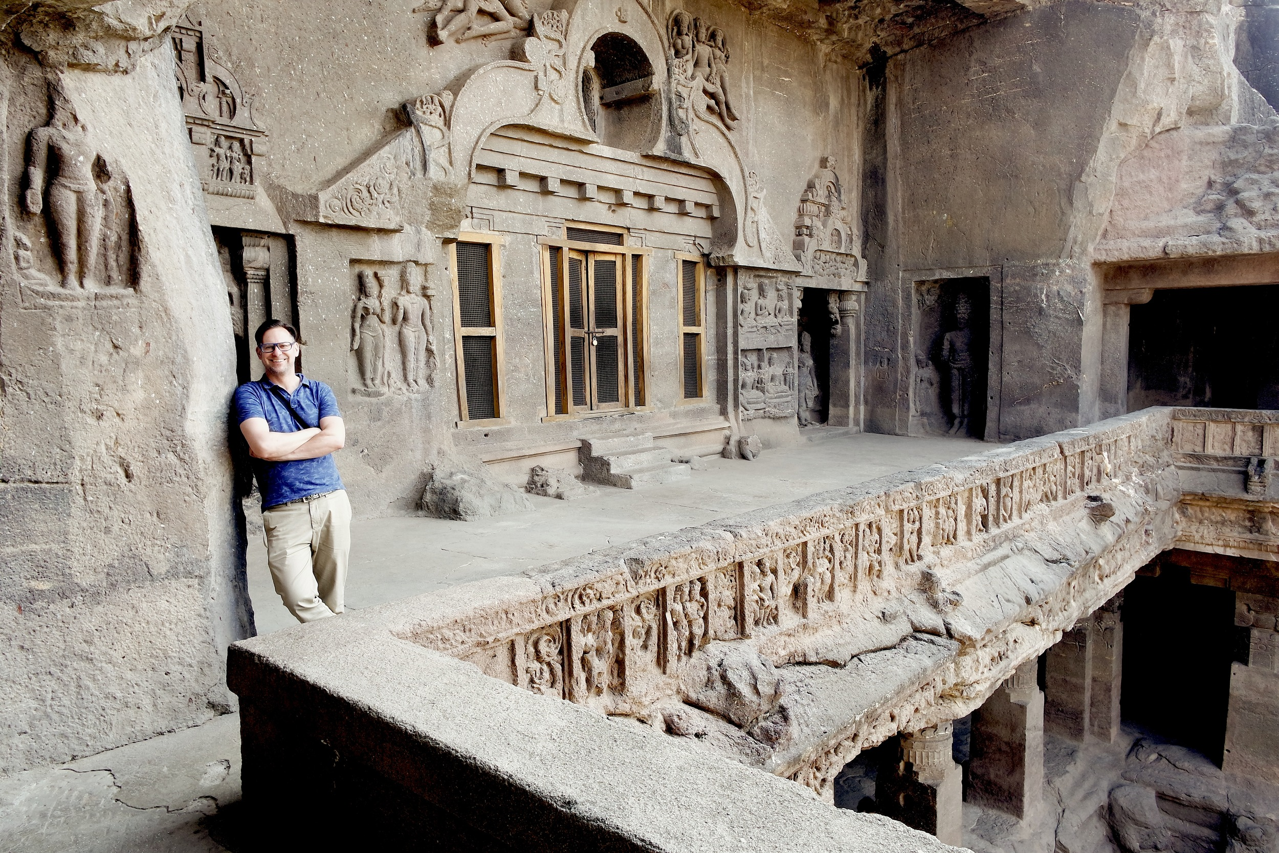 Duke on the what's called the verandah, on the upper story of Cave 32 at Ellora