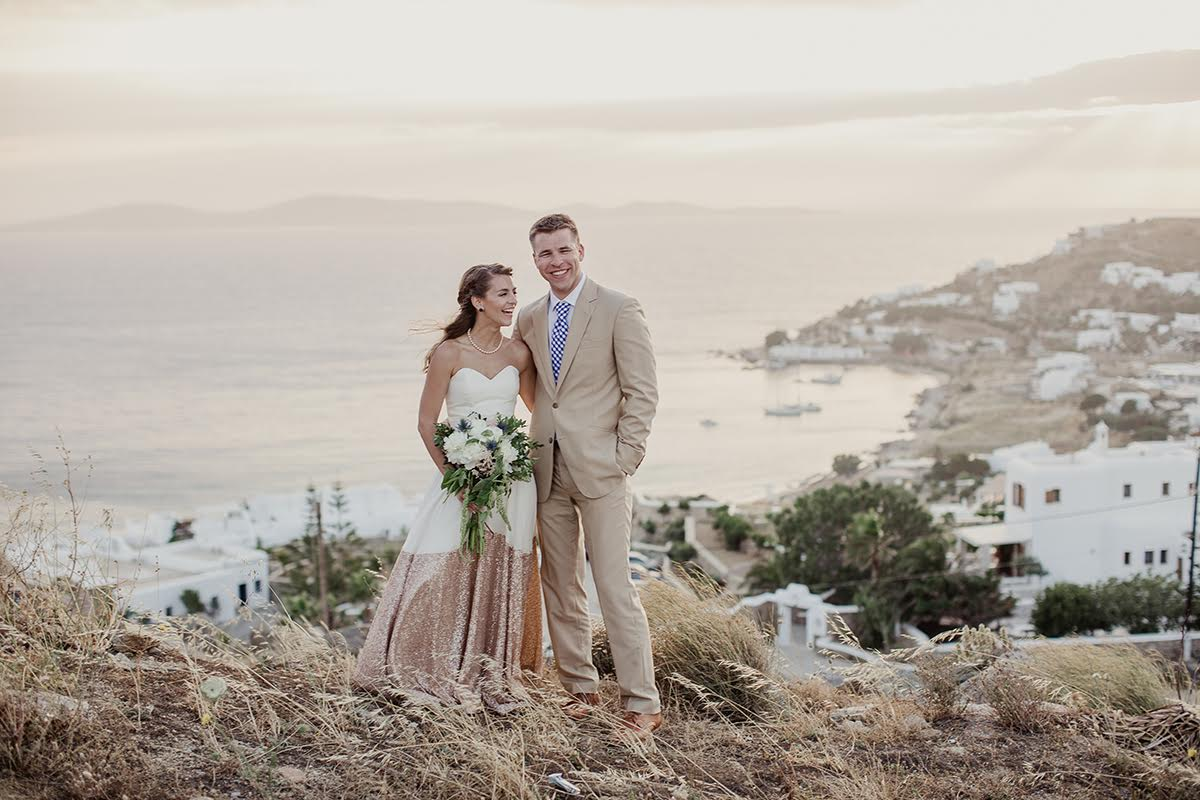 Kate and Donovan tied the knot in Mykonos, Greece.  Wedding photos by  Shaun Menary Photography