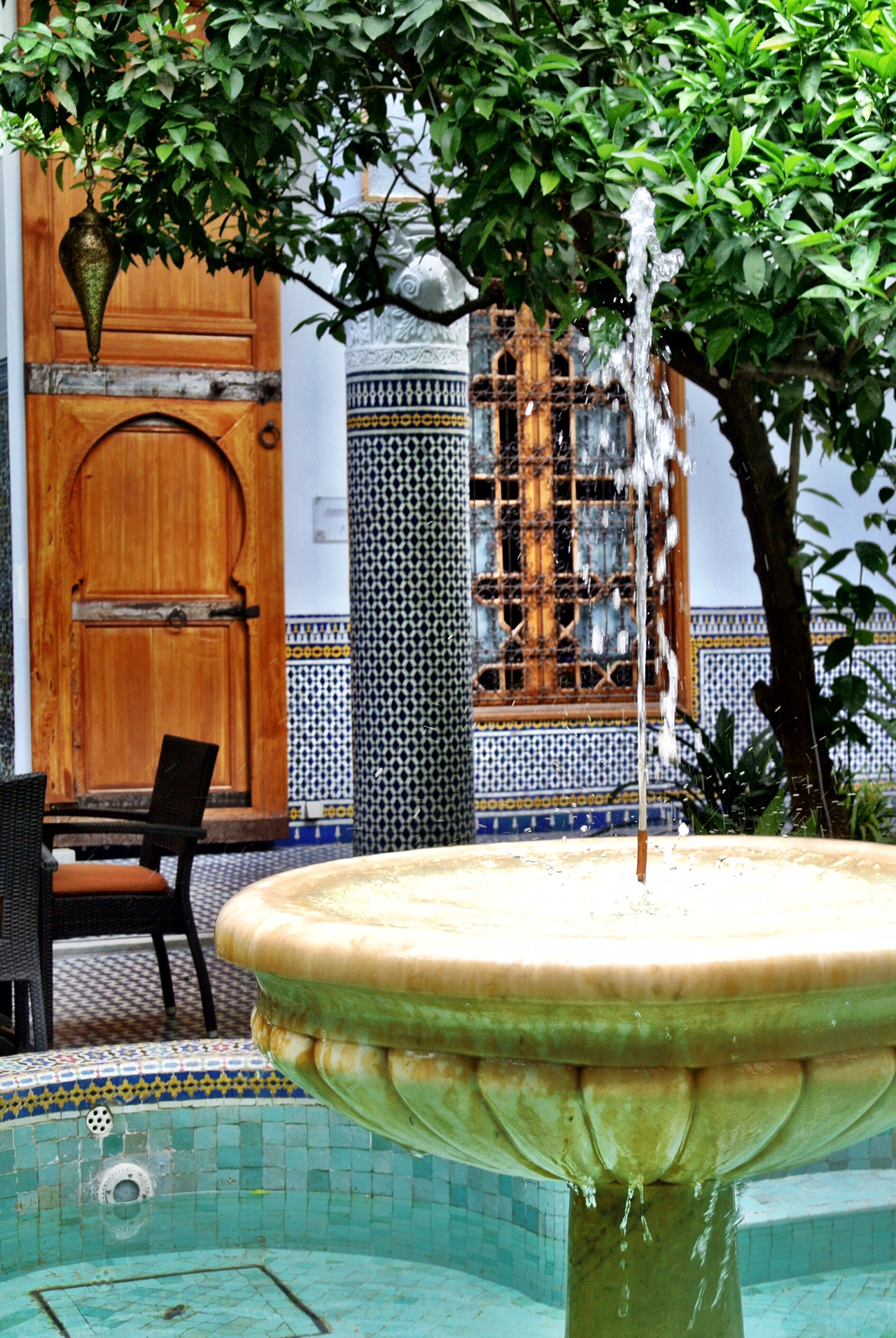 The courtyard fountain at the impressive Palais Amani, located in the heart of Fès' old city