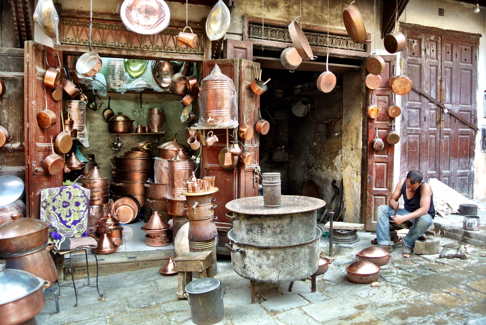 You'll hear the clanging before you turn the corner upon Place Seffarine, the metalsmiths' souk