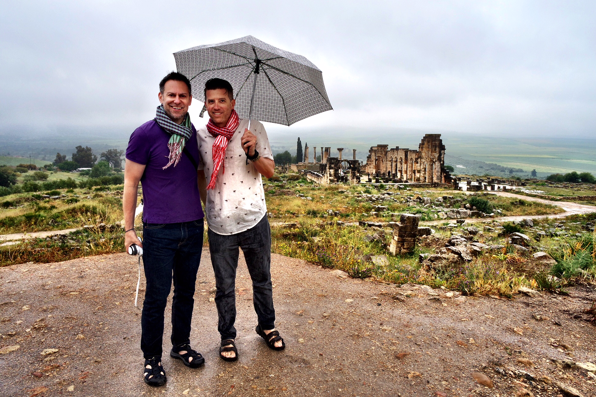 Duke and Wally didn't let a little rain get in the way of an enjoyable trip to Volubilis, Morocco