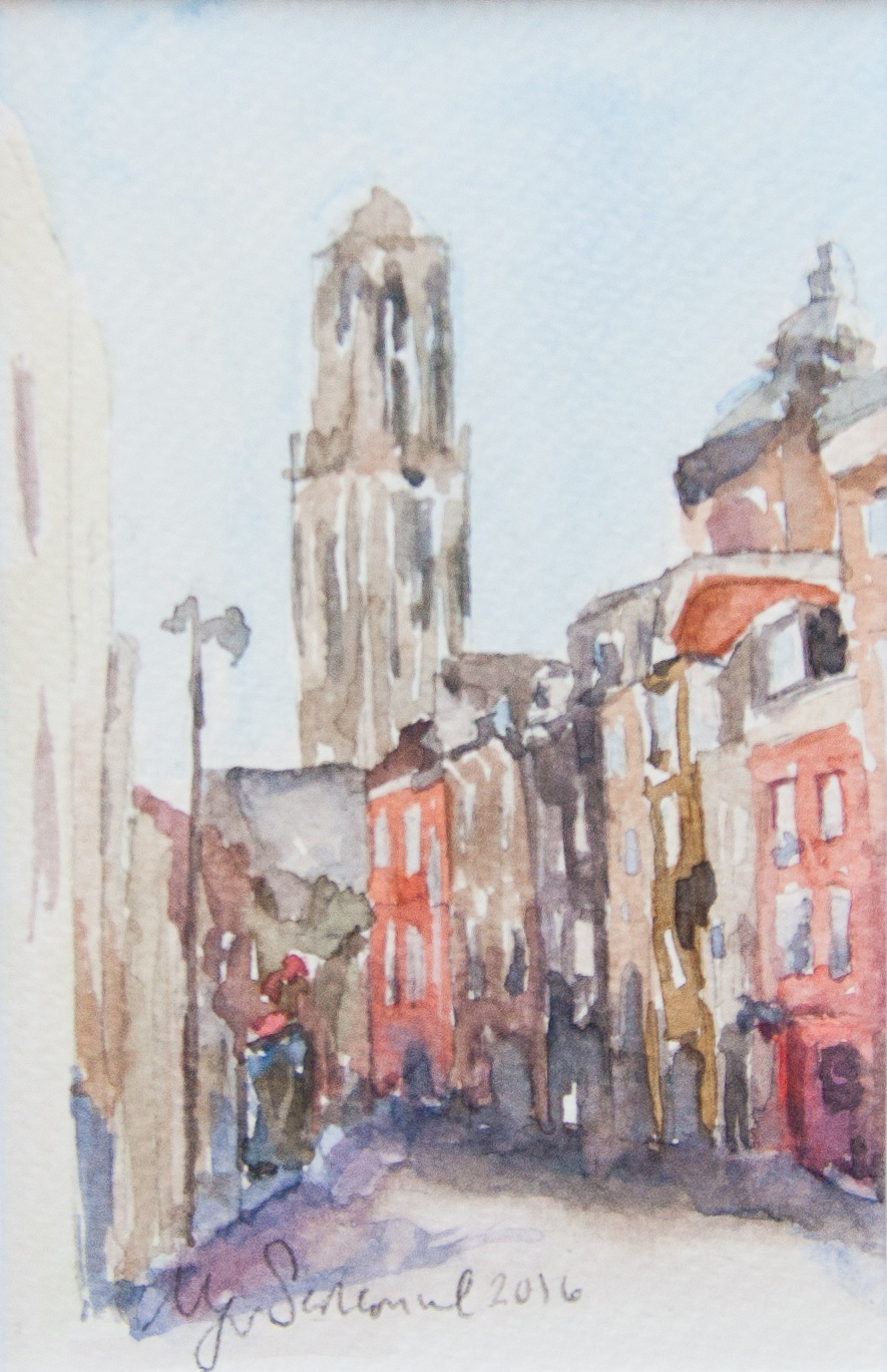 One of Morgan's paintings depicts a street scene from Utrecht, Netherlands