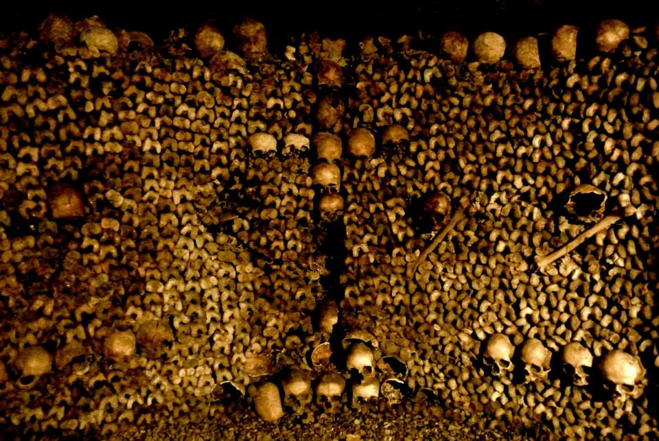 The bones of about 7 million Parisians were relocated and stacked artistically in the Catacombs below the city