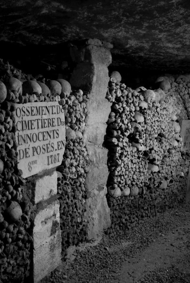 This sign shows that most of the remains in the Catacombs came from the Cemetery of the Innocents and were moved in the 1700s