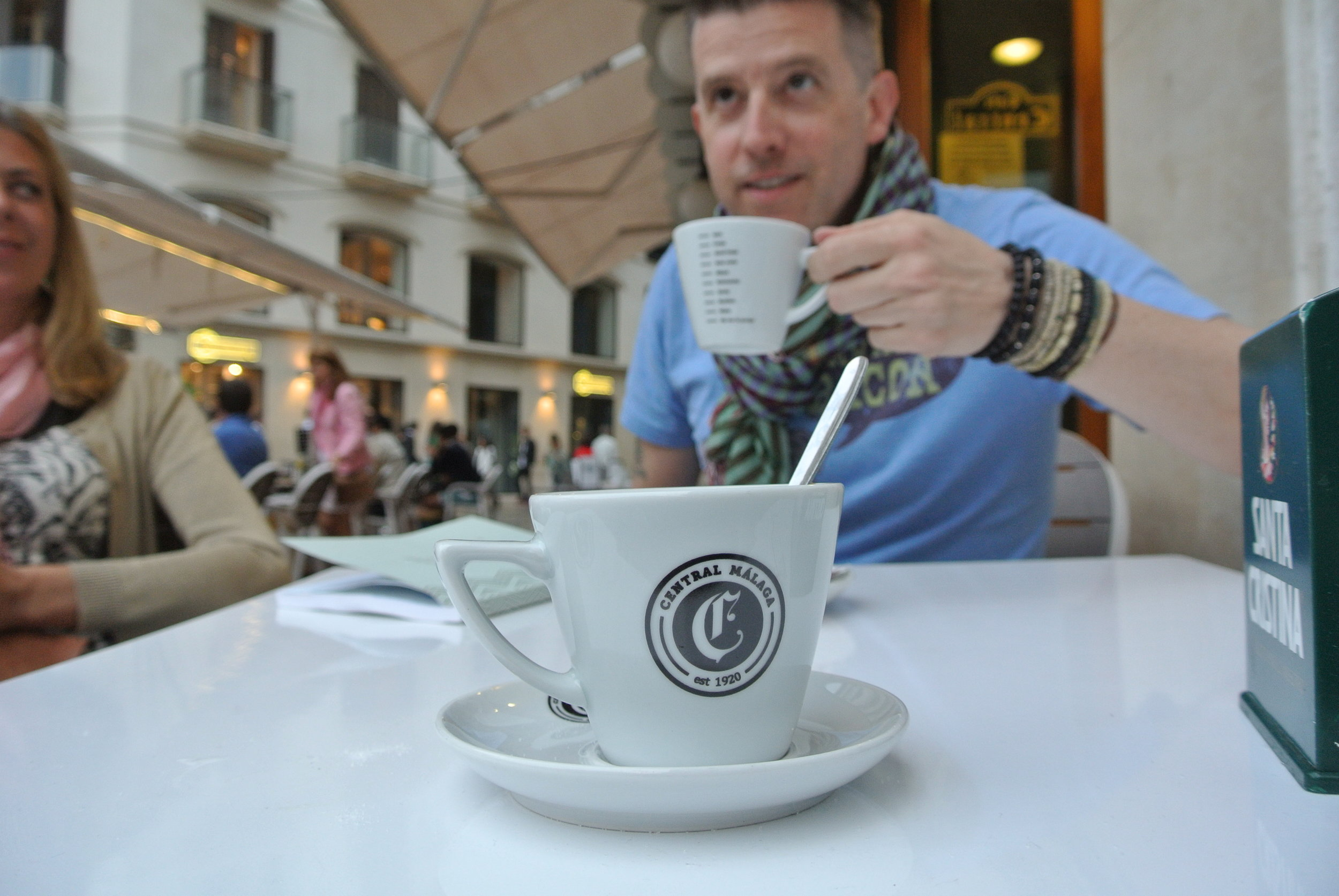 Wally enjoys a coffee at Café Central in Málaga, Spain. For the record, he's pretty much a mitad kind of guy