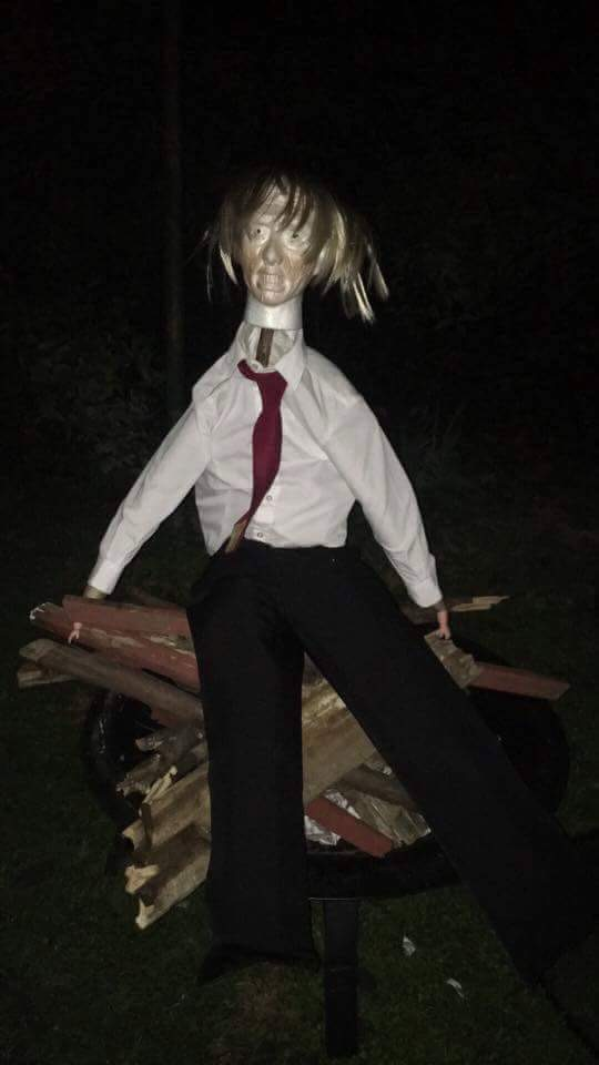 On Guy Fawkes Night, Malcolm and his friends burned an effigy of Trump