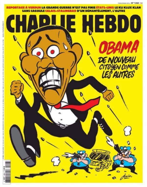 The controversial satirical magazine  Charlie Hebdo  recently featured a cover that addresses Obama leaving office and the problem of police violence against blacks