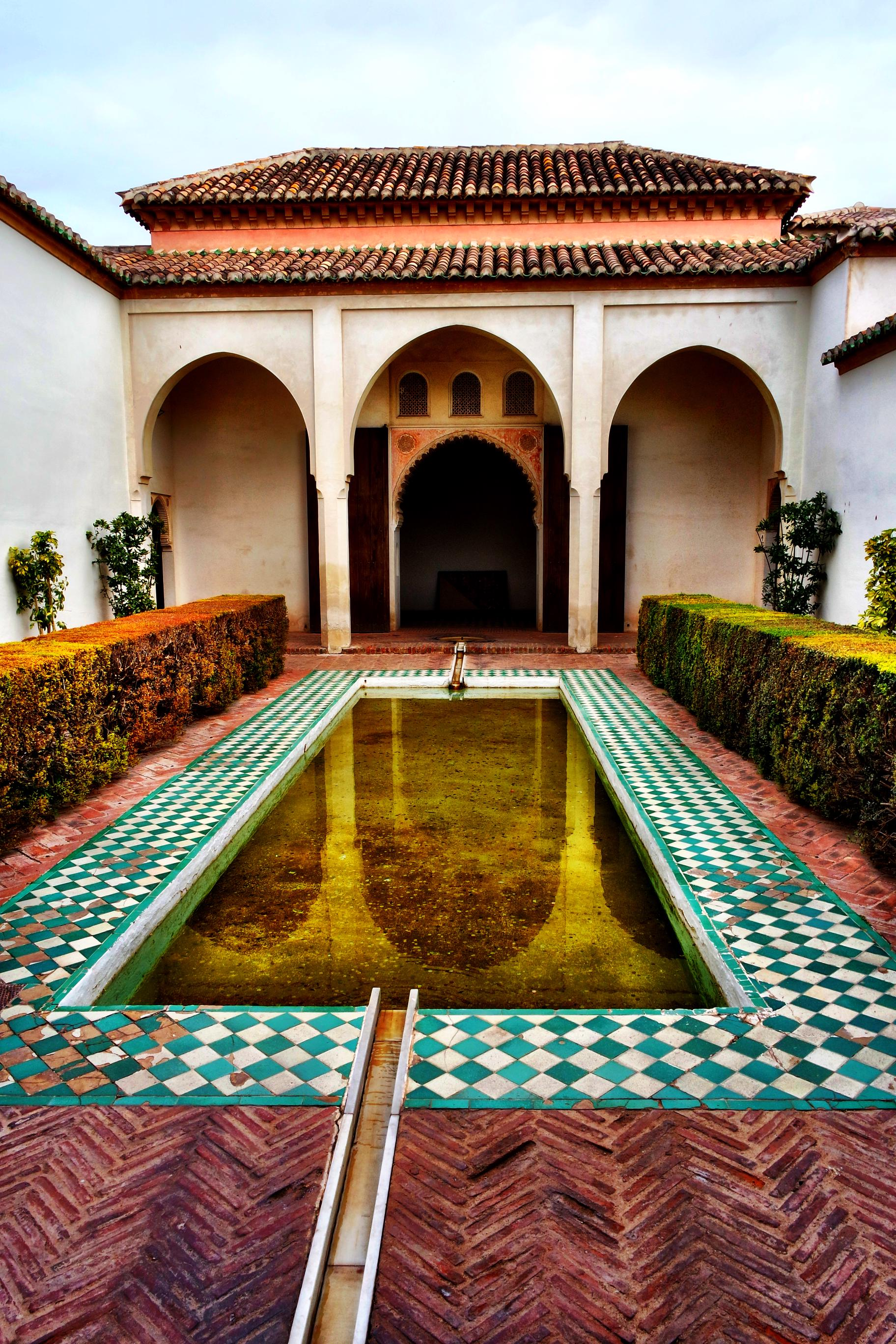 The reflecting pool in the Nasrid Palace area of the Alcazaba