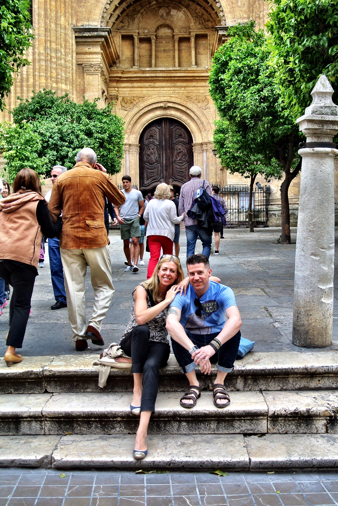 Jo and Wally on the front steps of the Malaga Cathedral