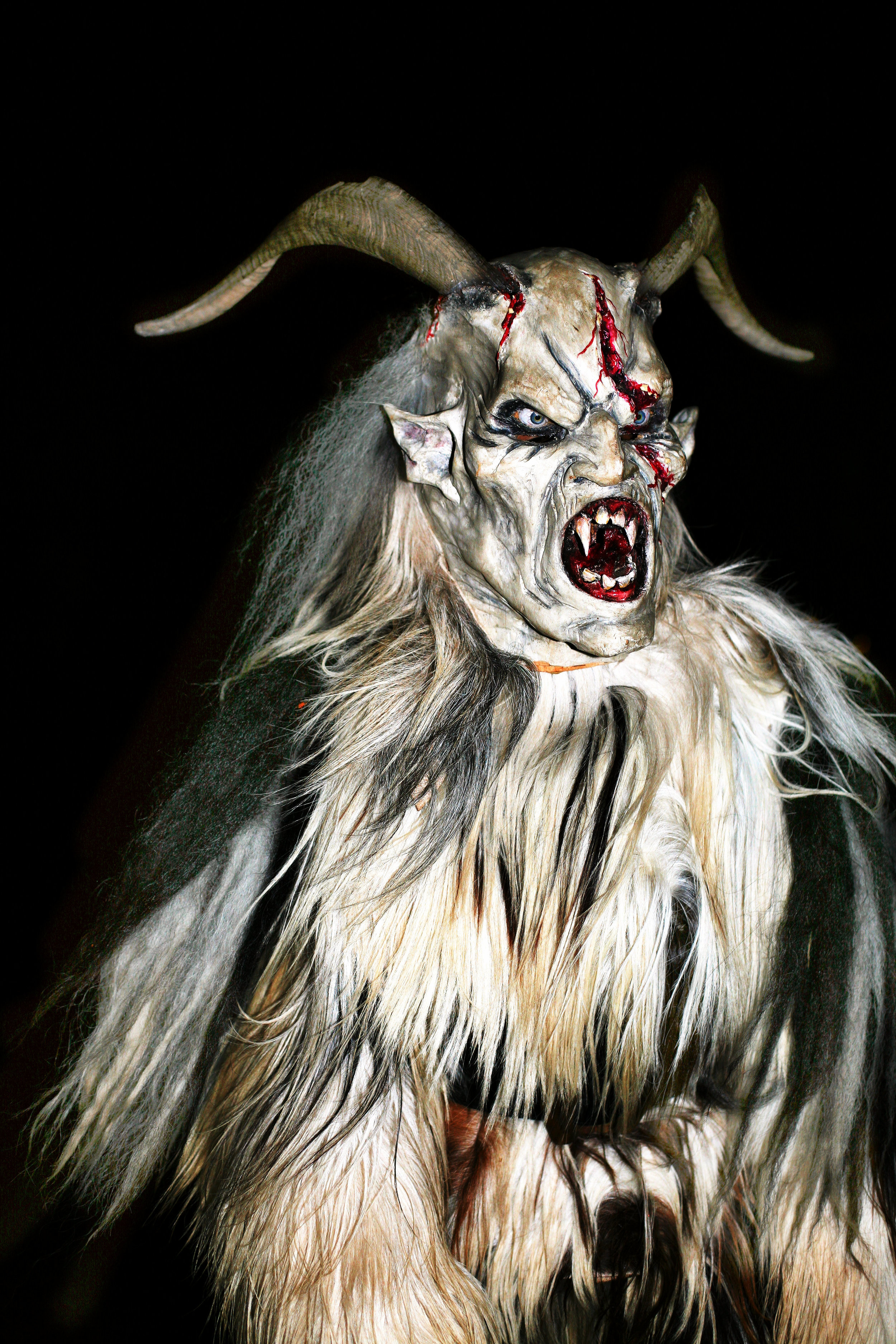 This frightening monster is called Krampus — and he's actually part of Christmas celebrations in Austria and other countries in Central Europe