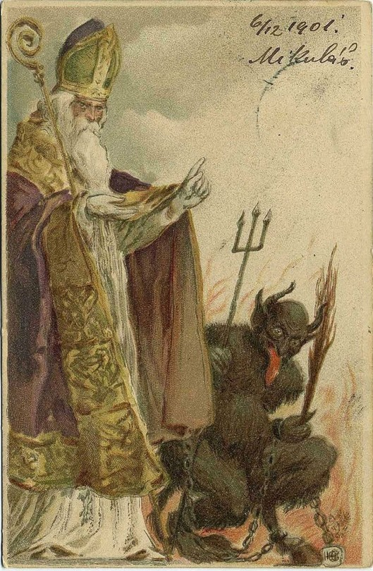 Kind St. Nicholas became the Santa Claus we know today, while the evil Krampus punishes naughty children
