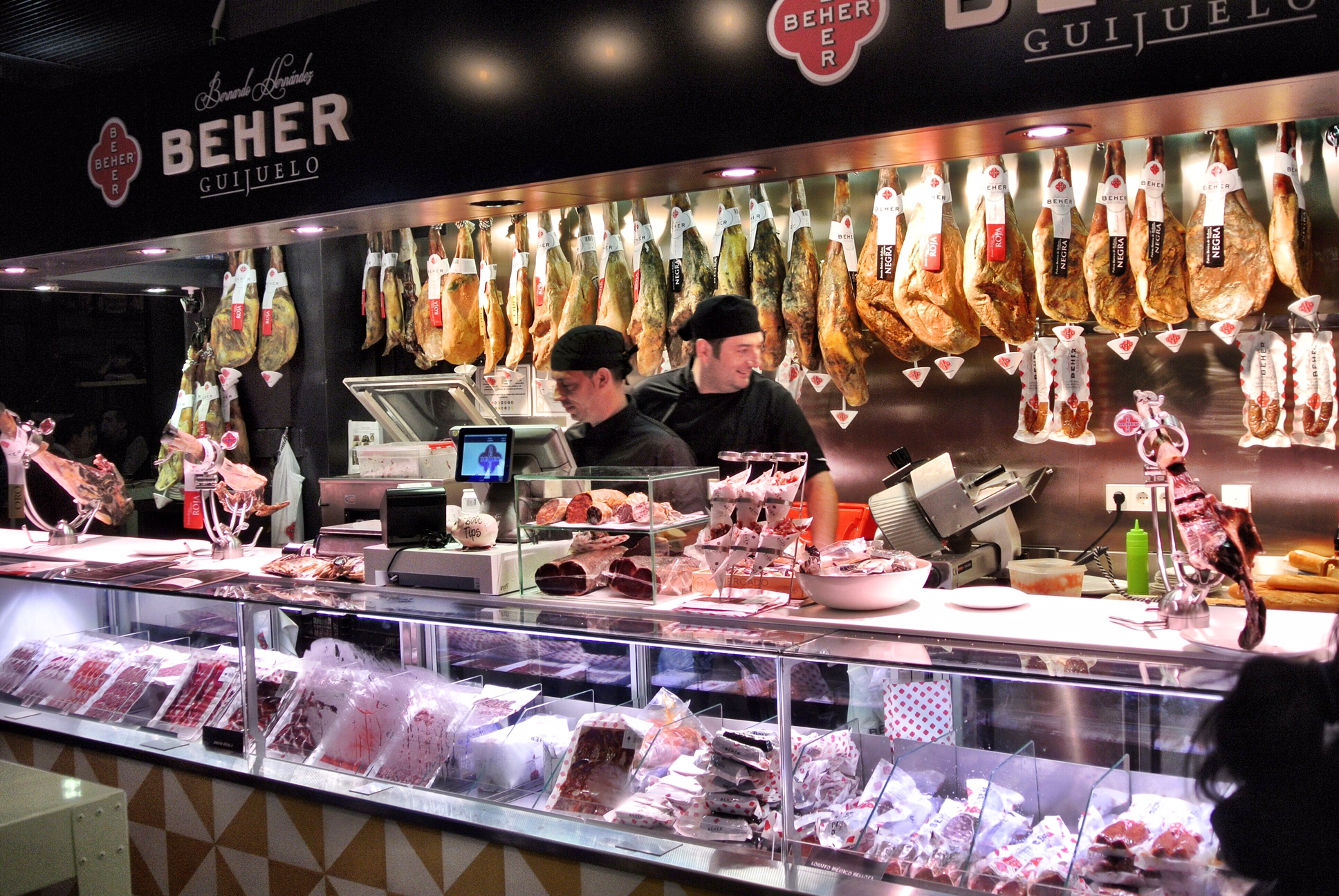 Dining options galore (and farmers' market shopping during the day) at the Mercado de la Merced in Málaga, Spain