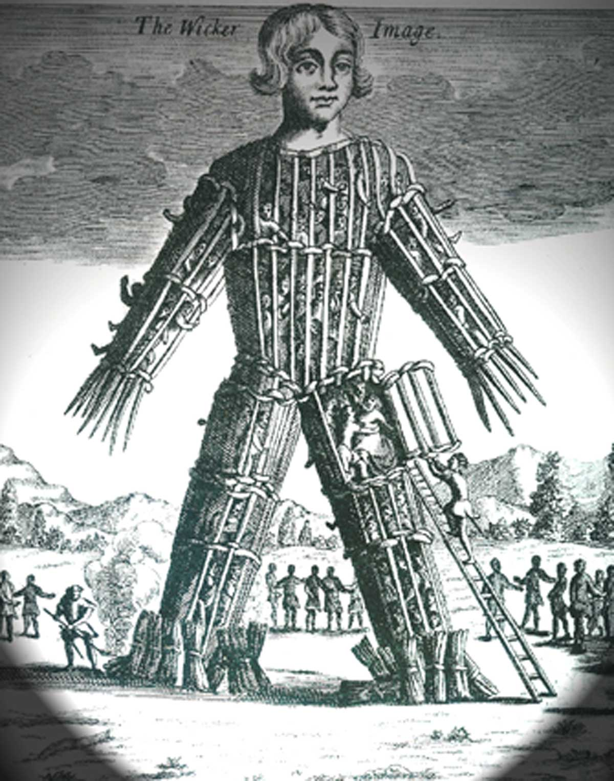Julius Caesar wrote about the Gallic practice of burning humans alive in a giant wicker man
