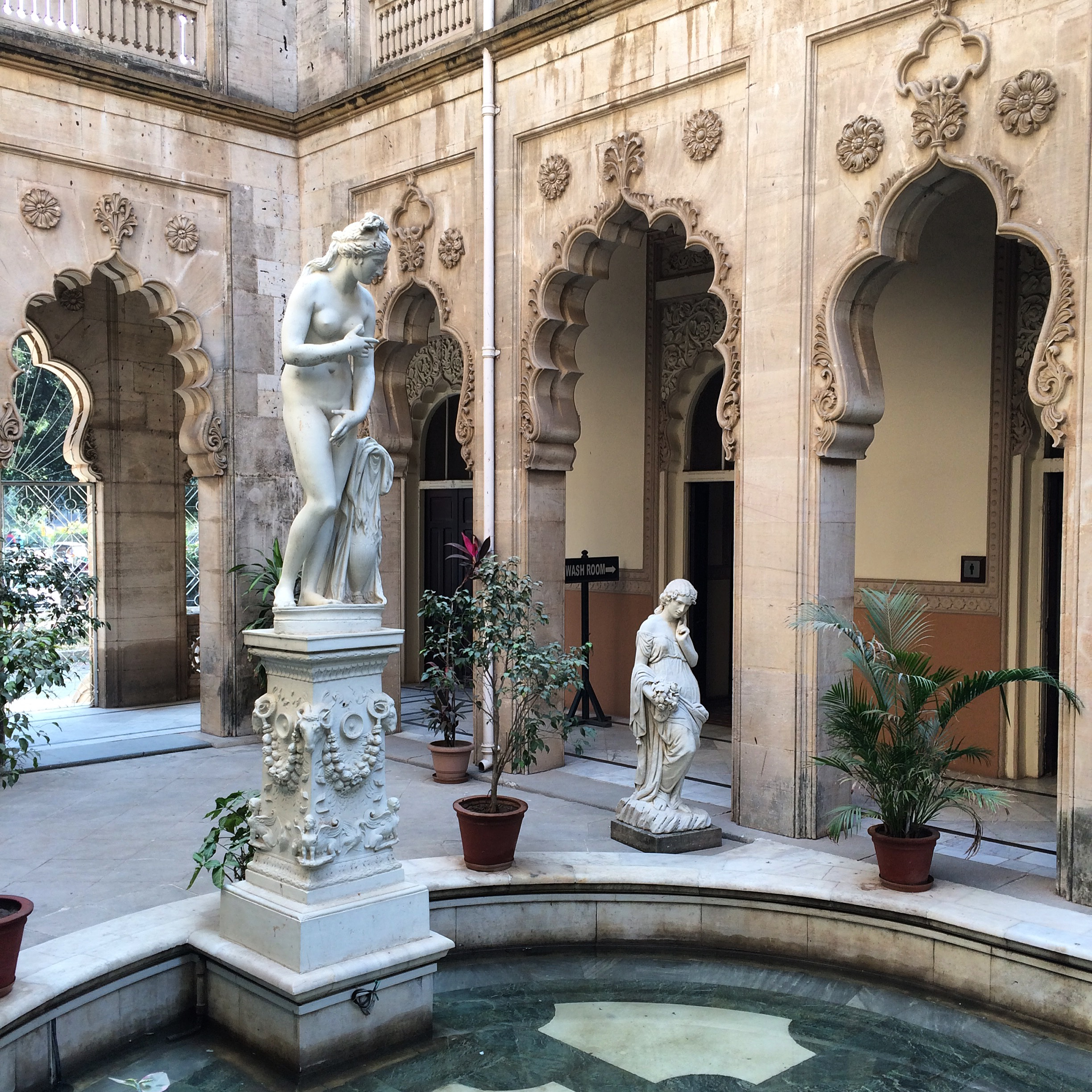 2.  The beautiful Italianate courtyard outside the Darbar Hall at Laxmi Vilas Palace in Vadodara, India.