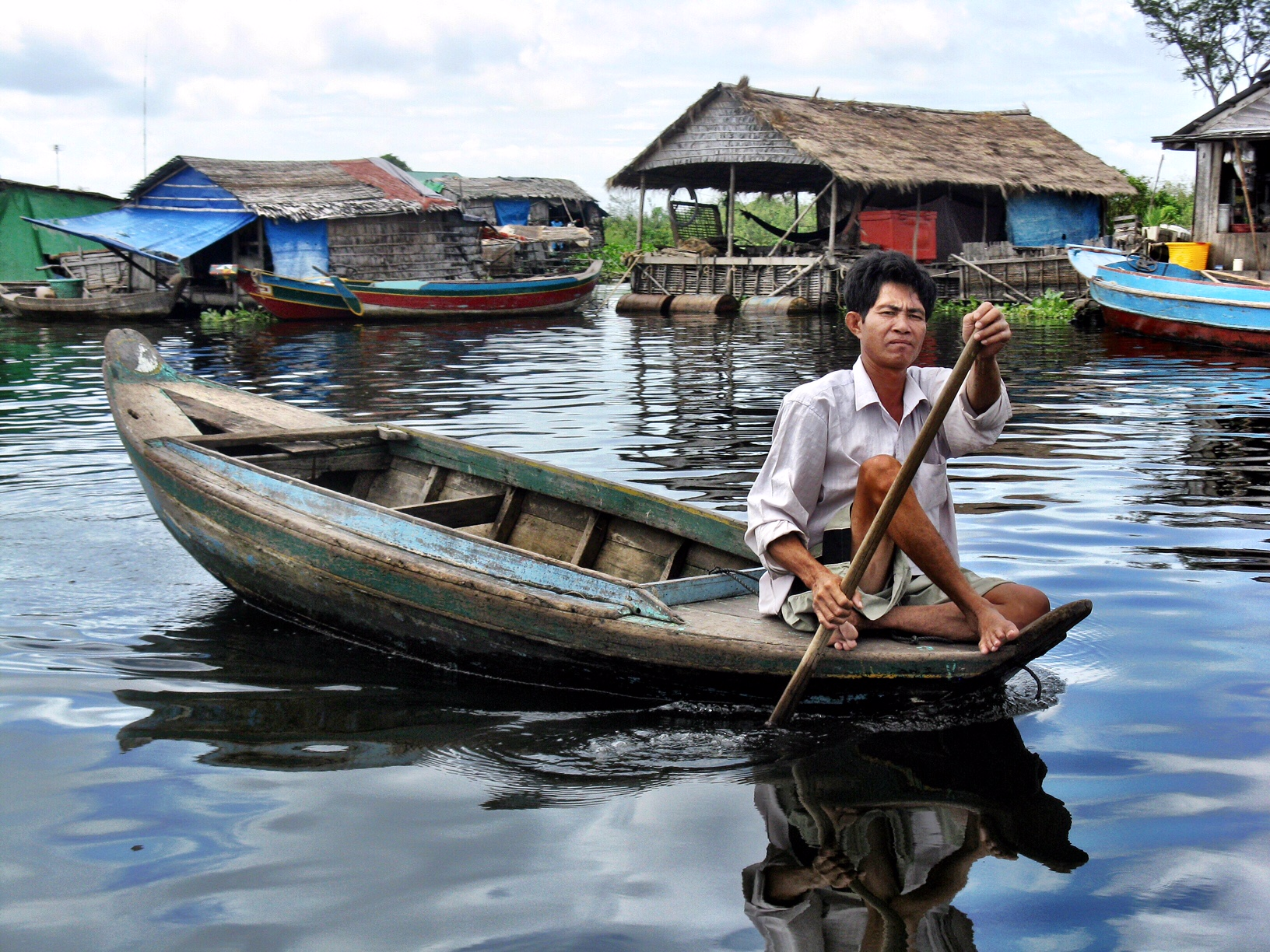 Getting into a boat every time you want to go anywhere is the way of life in Kompong Khleang