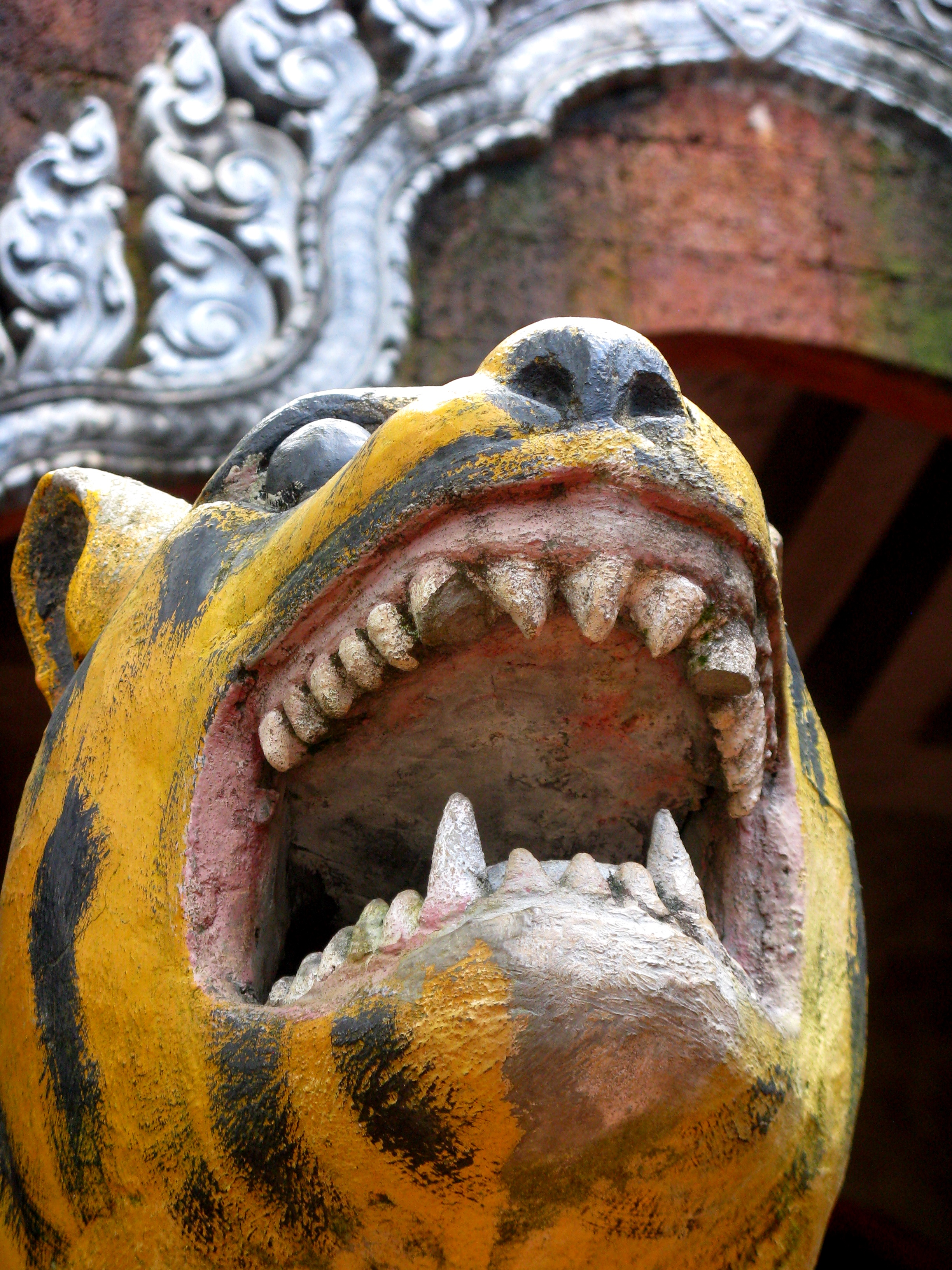 A tiger statue, one of the bodhisattva symbols