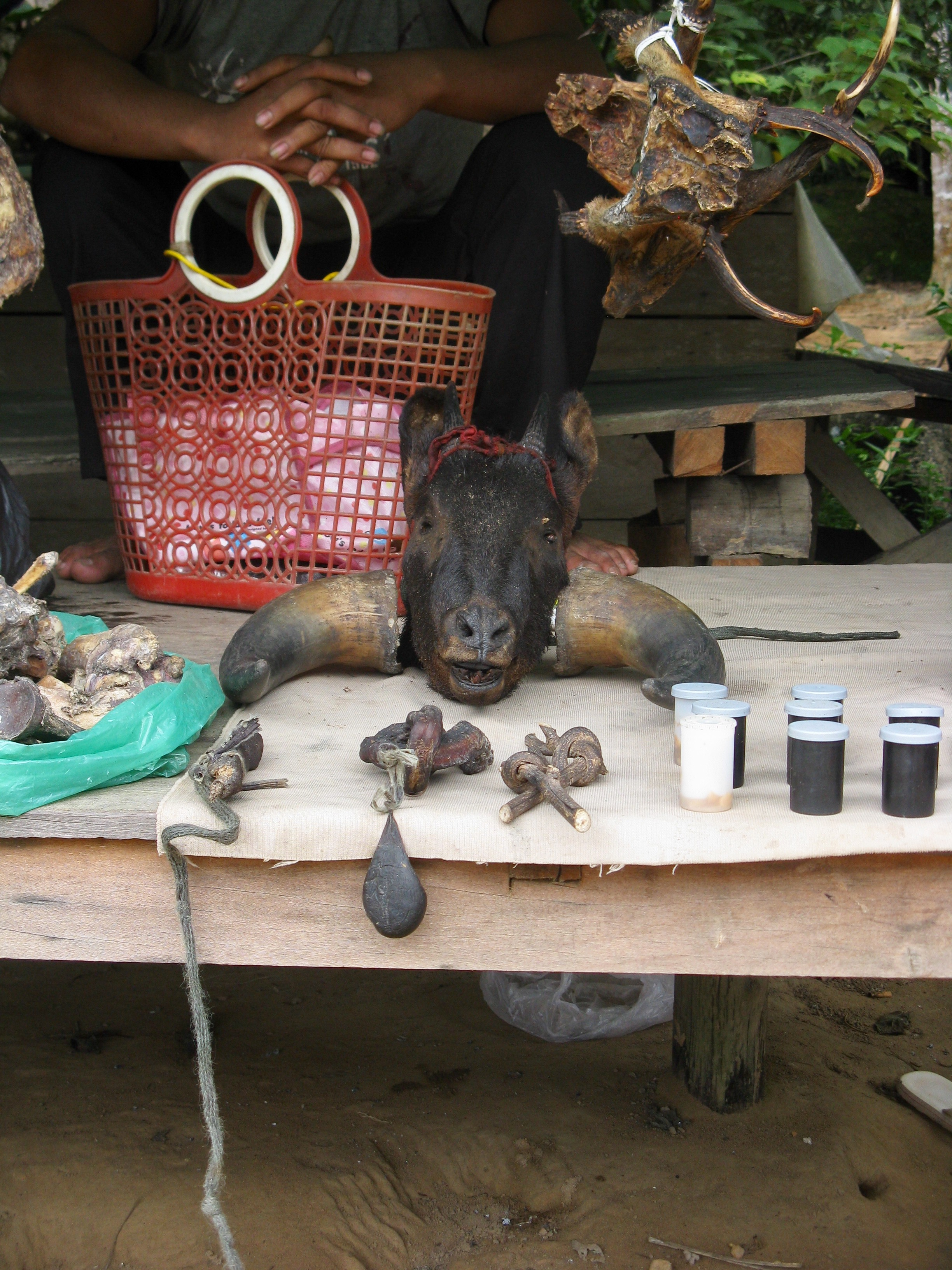 Souvenir and food stalls sell offerings — including preserved goat heads!