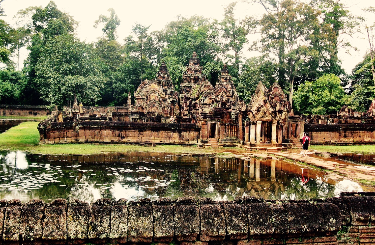 Banteay Srei, with its carvings from Hindu mythology on its pink walls, is like something out of a storybook