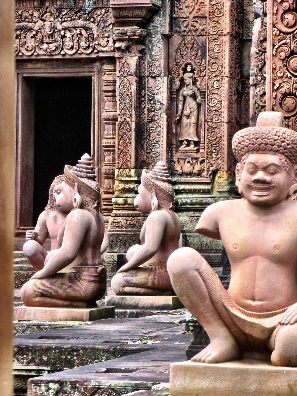These statues keep watch over the interior of Banteay Srei citadel