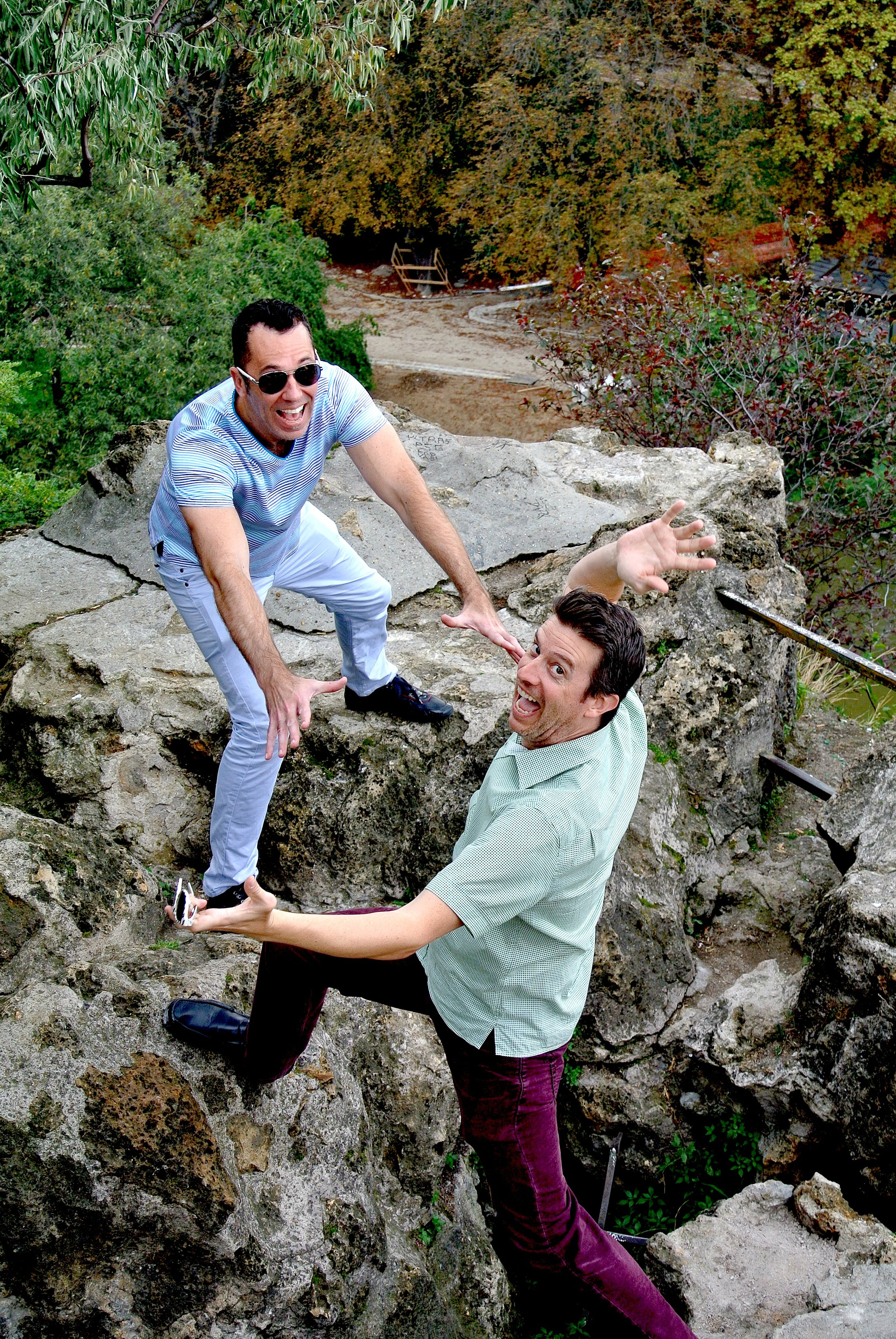 Even though Kent and Wally are joking around, there are some precarious perches in Buttes Chaumont — be careful!