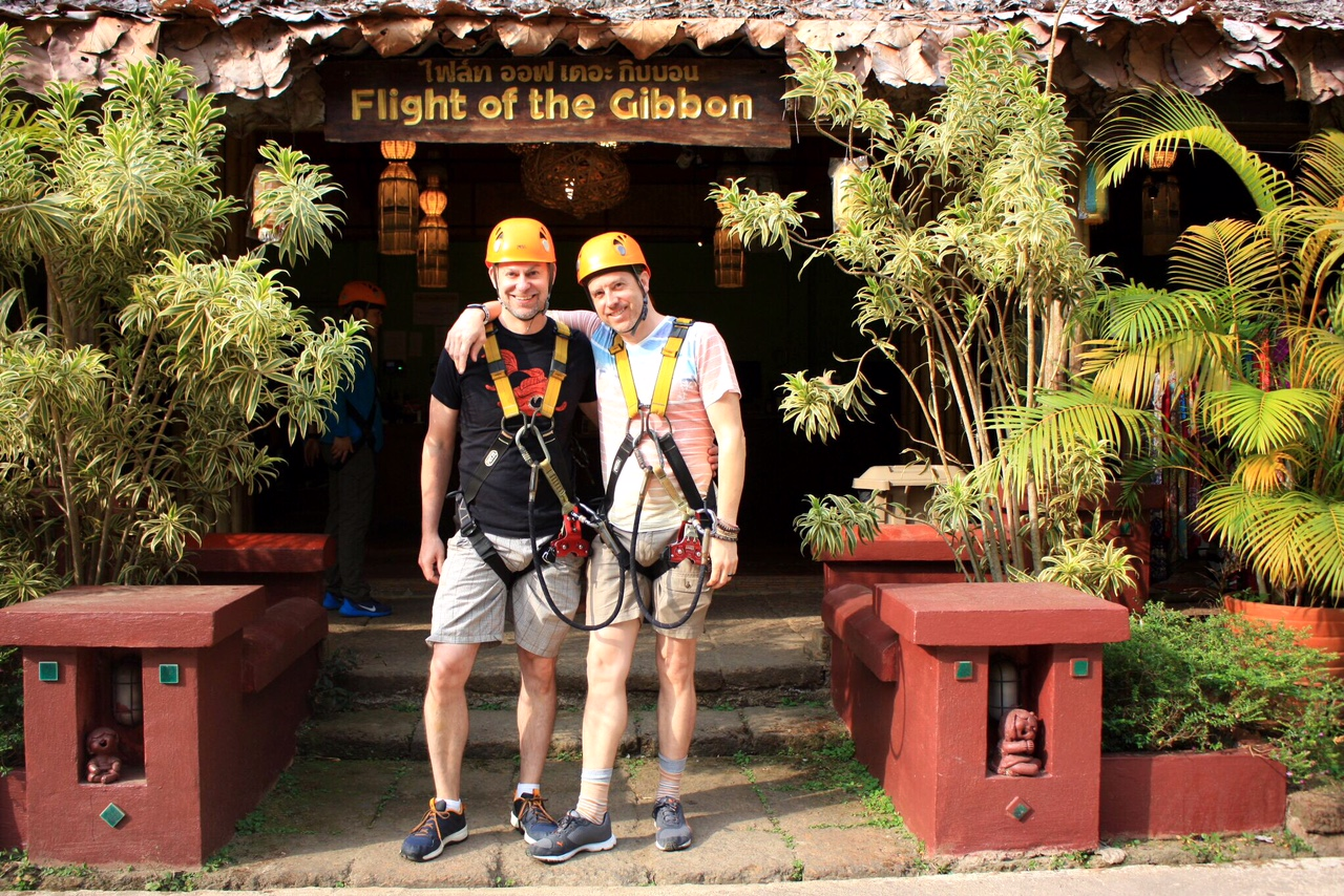 Duke and Wally are all geared up and ready to hit the jungle course! (The harnesses are a bit snug in the crotch region, FYI.)