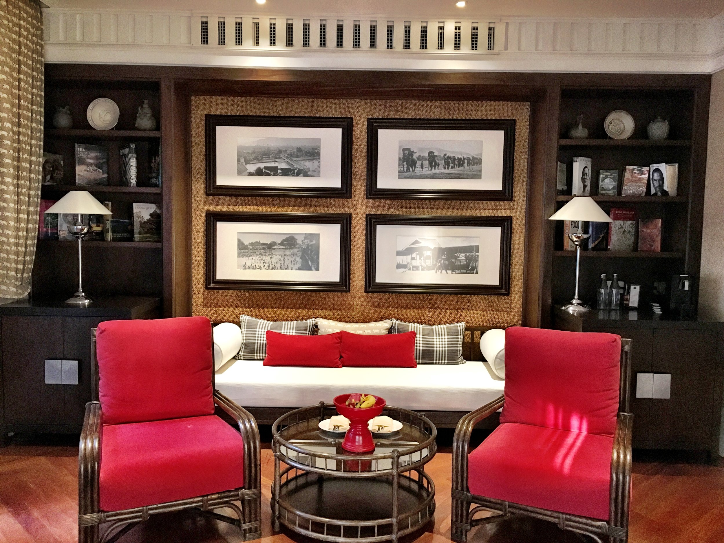 The sitting room of the Louis Leonowens Suite, better known as the Pool Suite