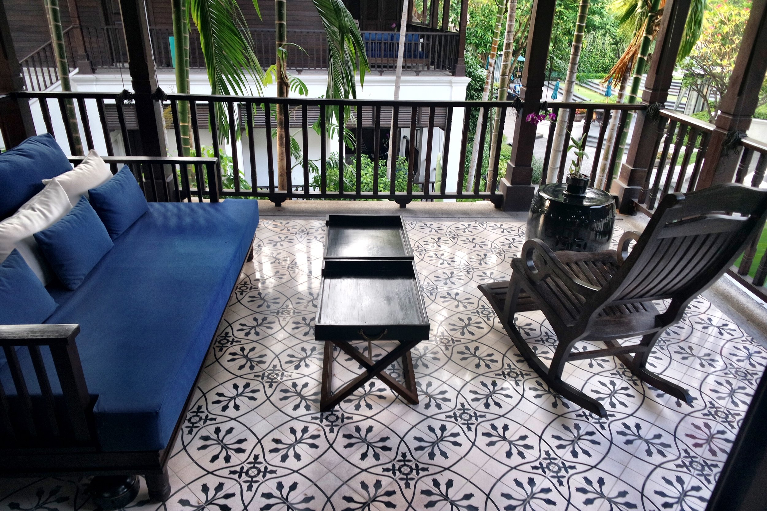 The charming porch is a highlight of the Rajah Brooke Suite