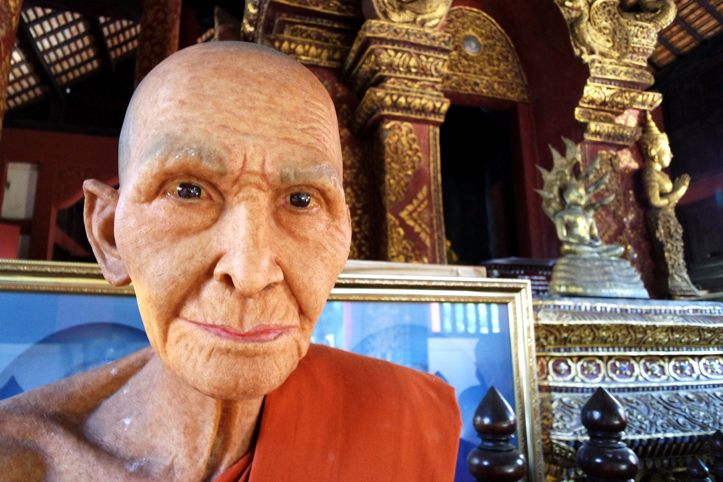No, this isn't a real monk — it's a wax replica at Wat Phra Sing that could fit right in at Madame Tussauds. Wax monks are all the rage in Northern Thailand, and they're sure to startle the unwary traveler