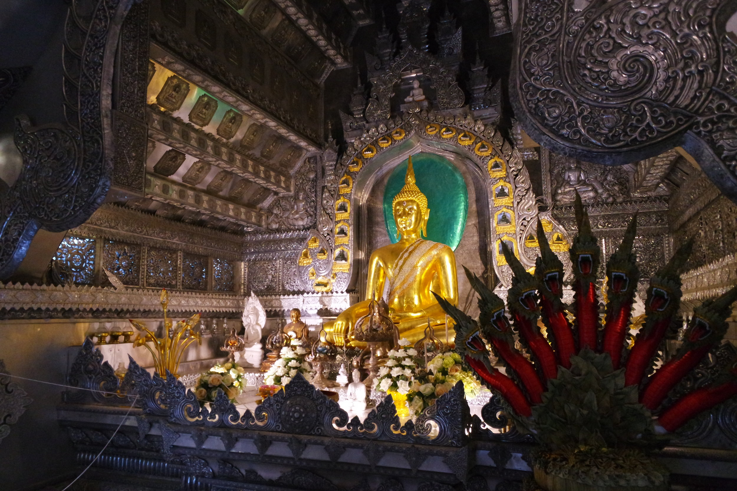 Sorry, ladies. Only men can feast their eyes on the interior of Wat Sri Suphan, the amazing Silver Temple in Chiang Mai