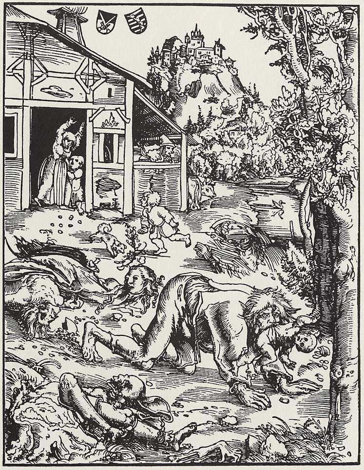 A werewolf attacks a village in this woodcut from around 1512