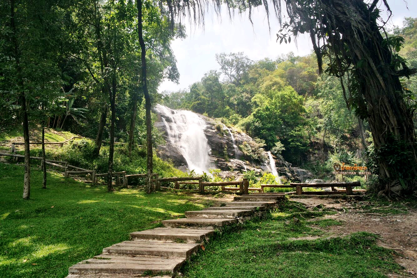 Stop by the Vachiratharn Waterfall — no hiking necessary