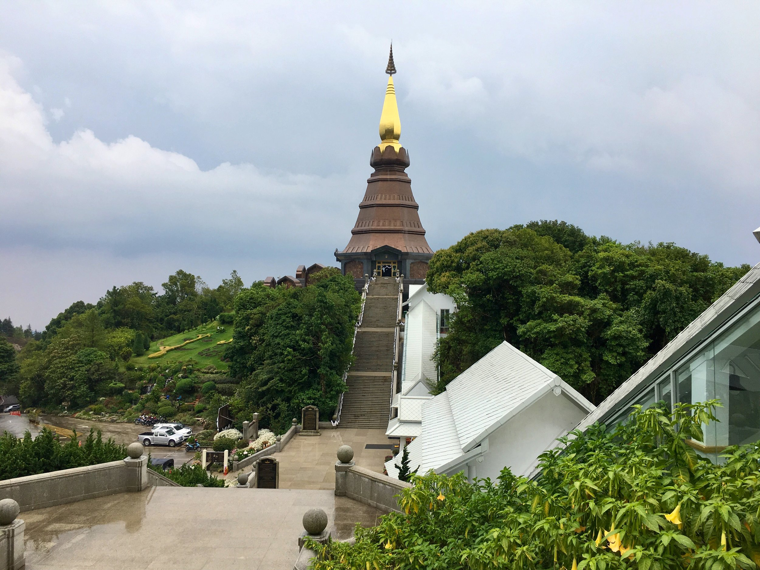 It started raining right as we got to the pagodas atop Doi Inthanon