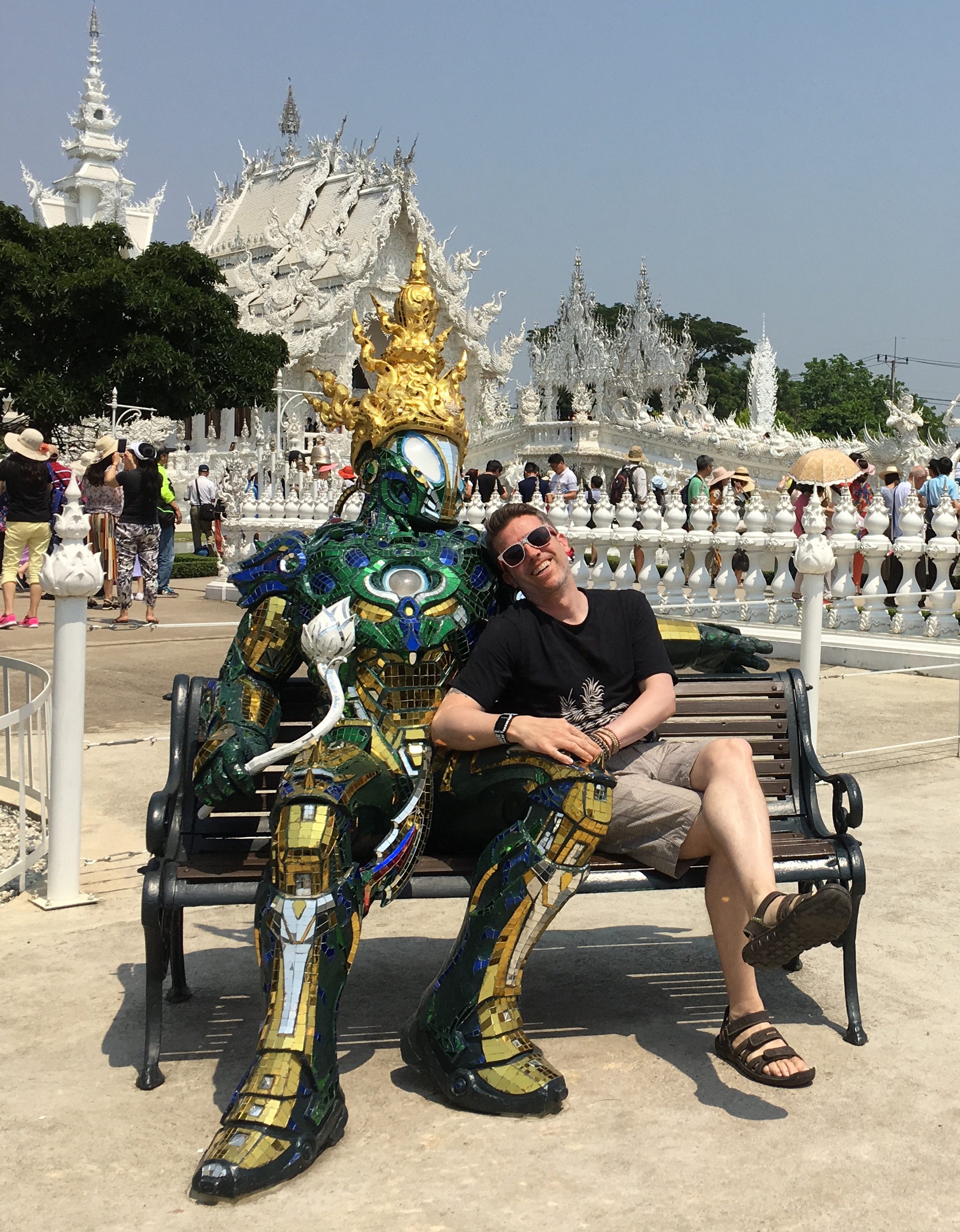 Wally made a new friend at the White Temple, where the pristine glory of the buildings pair strangely with pop culture references