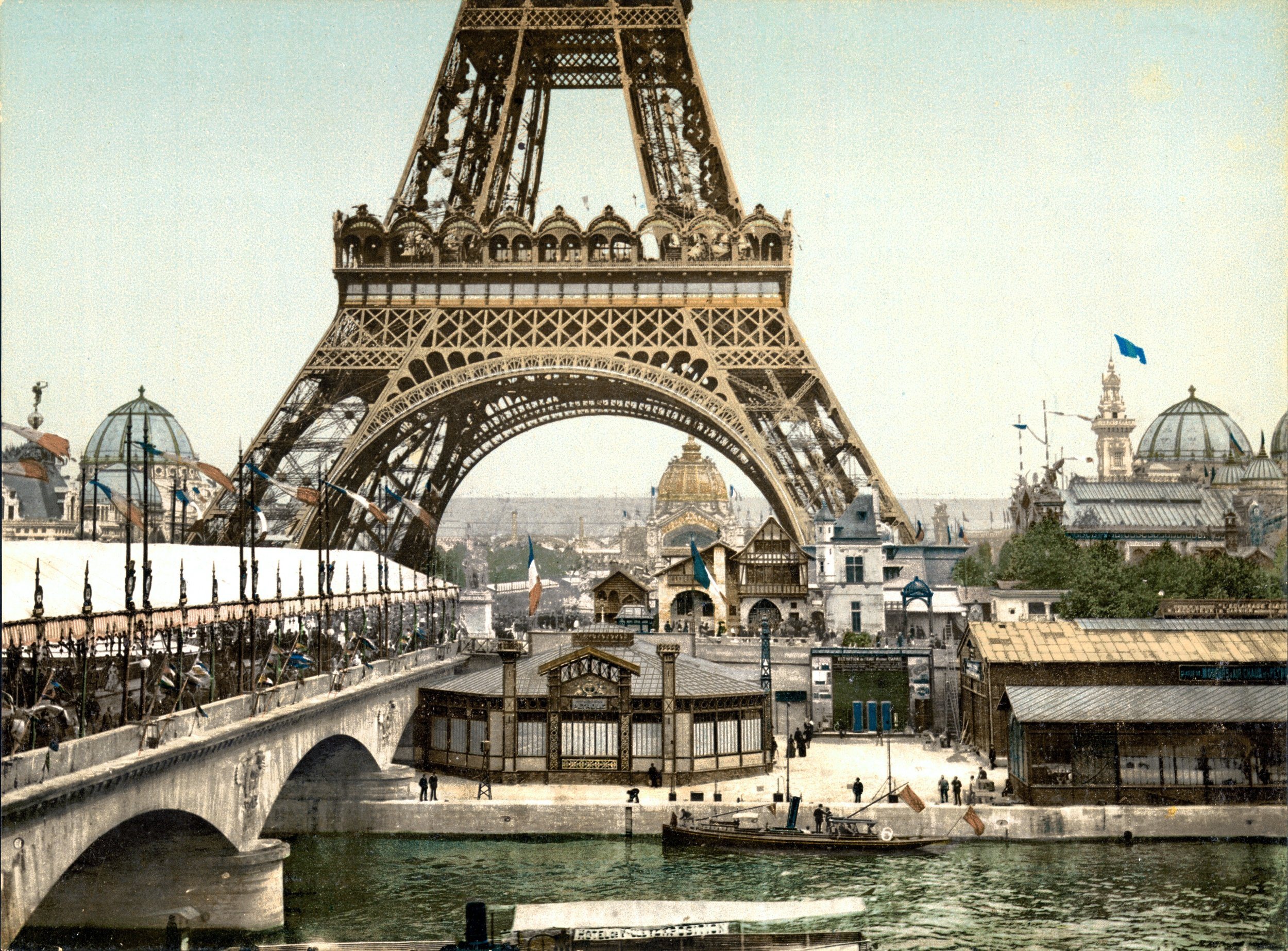 The Eiffel Tower served as a dramatic entrance to the 1889 Exposition Universelle