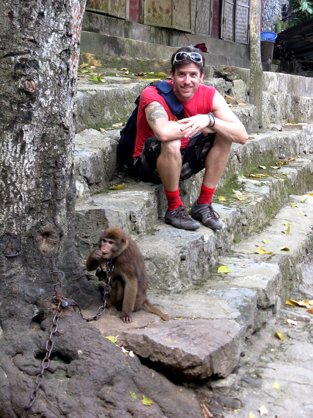 On the walk down, we passed a monkey on a chain. Duke claims he loves monkeys — but was terrified to get too close to this one. So it was Wally who posed (keeping a safe distance)