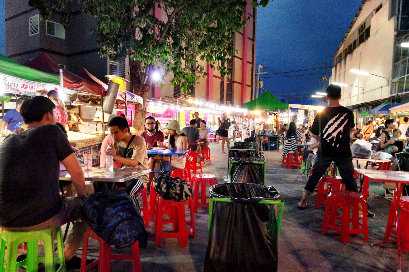 The Saturday Walking Street Night Market has some good handicraft stalls — but we loved this mini food court most of all