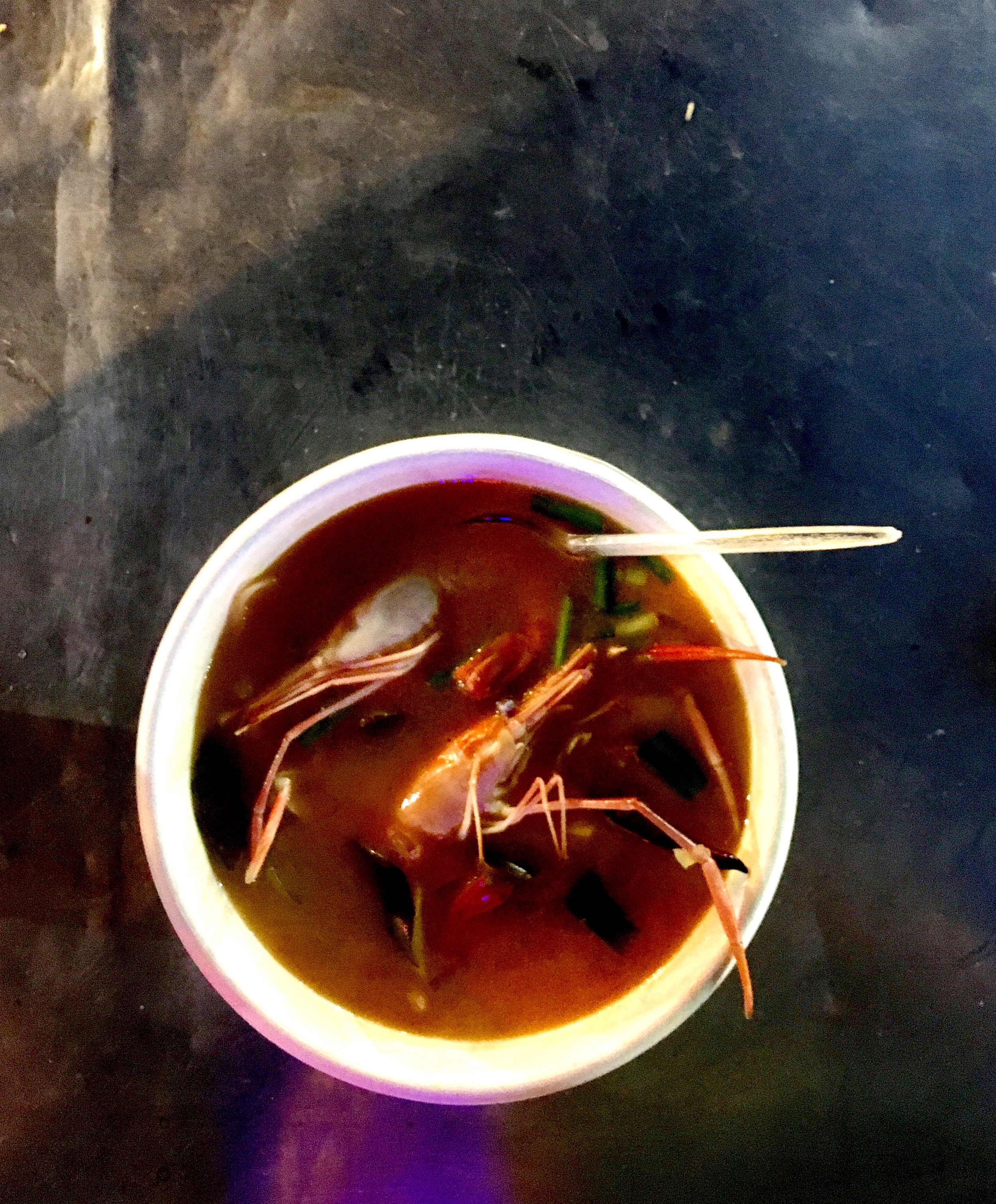 Giant shrimp peeked out of our delicious, piping hot tom yum soup