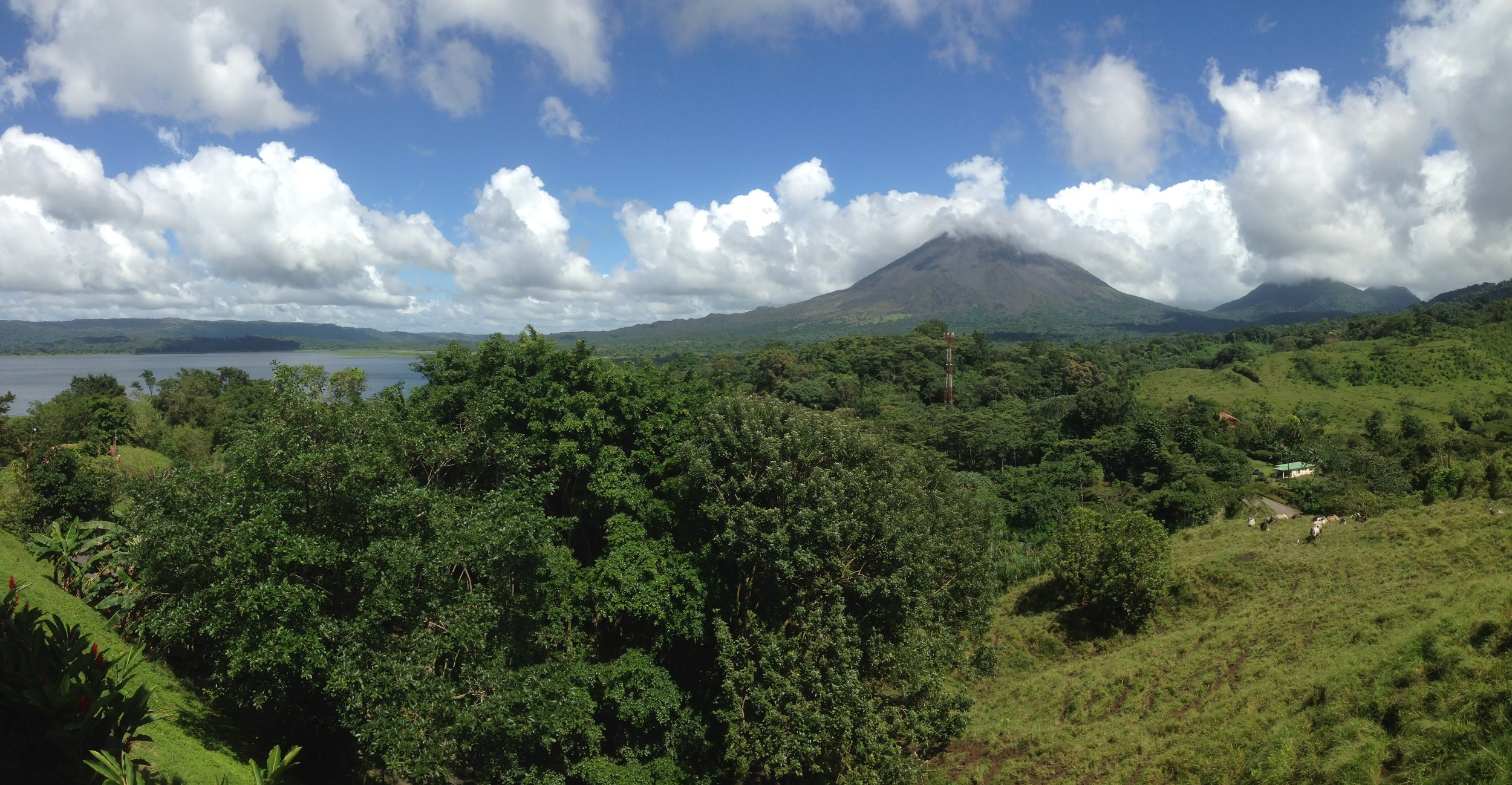 Arenal Volcano to the right and Laguna de Arenal to the left. The Arenal cloud forest and town of Fortuna are a great destination for one or two days. The Tabacon hot springs are a must, and you can hike to the base of the volcano