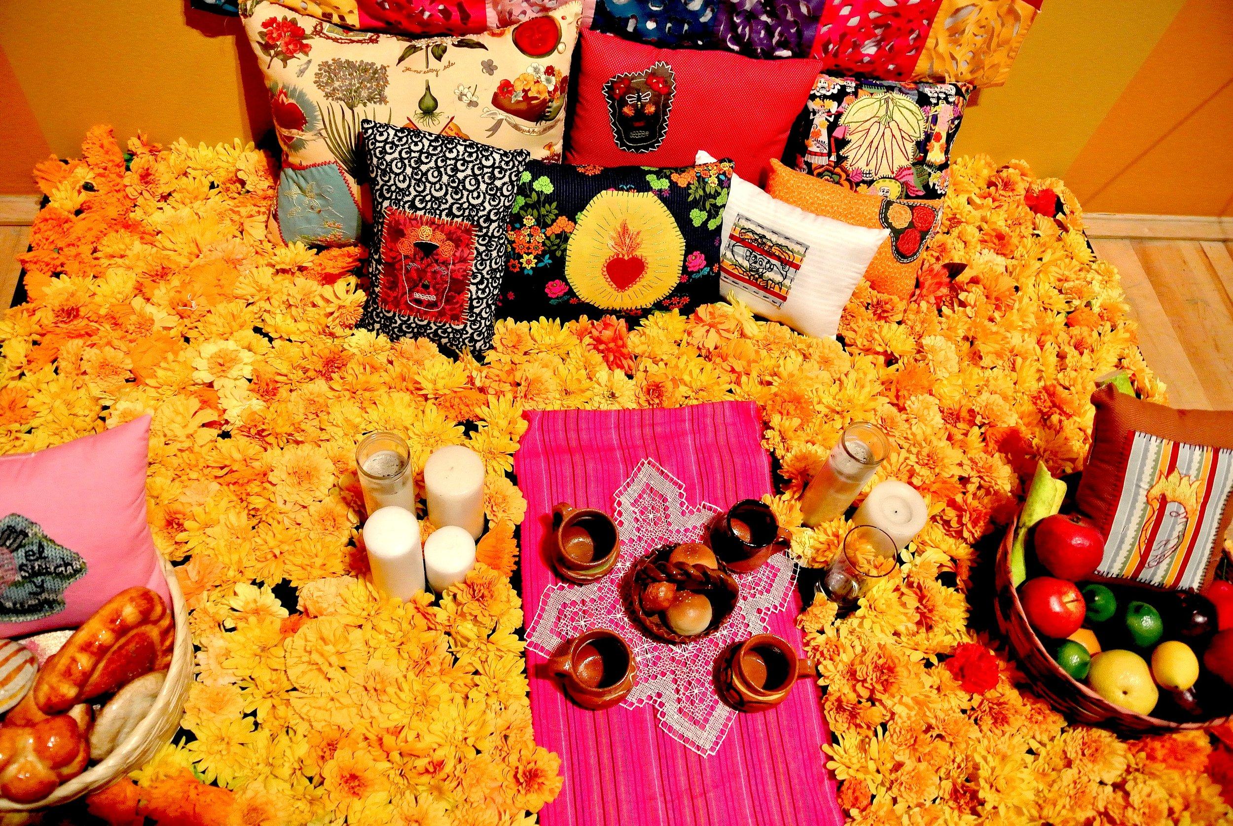 The fun bright orange marigolds are common decorations during el Día de los Muertos