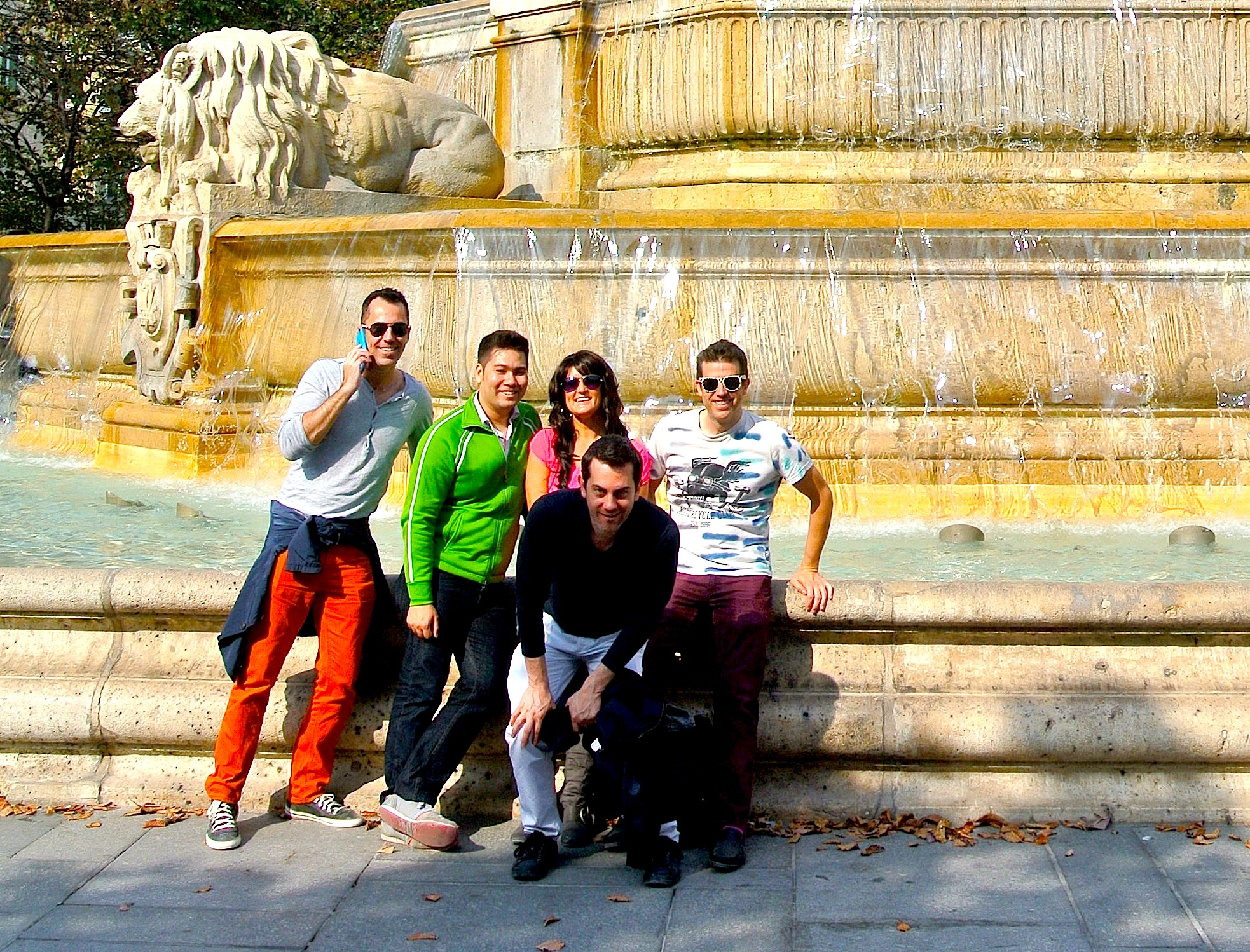 Wally, far right, and his friends at the Fontaine Saint-Sulpice